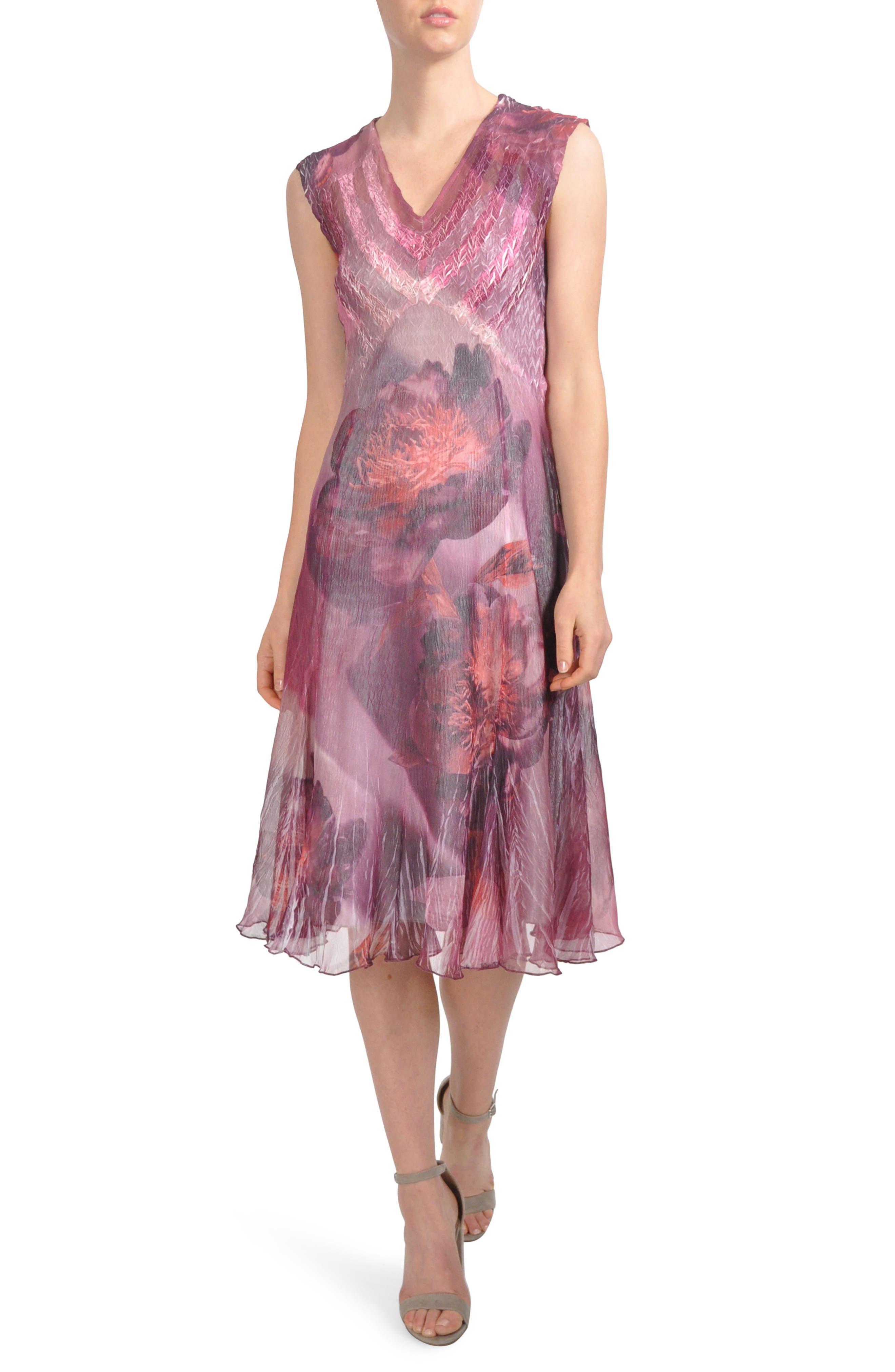 Chiffon Midi Dress,                             Main thumbnail 1, color,                             Crimson Peony