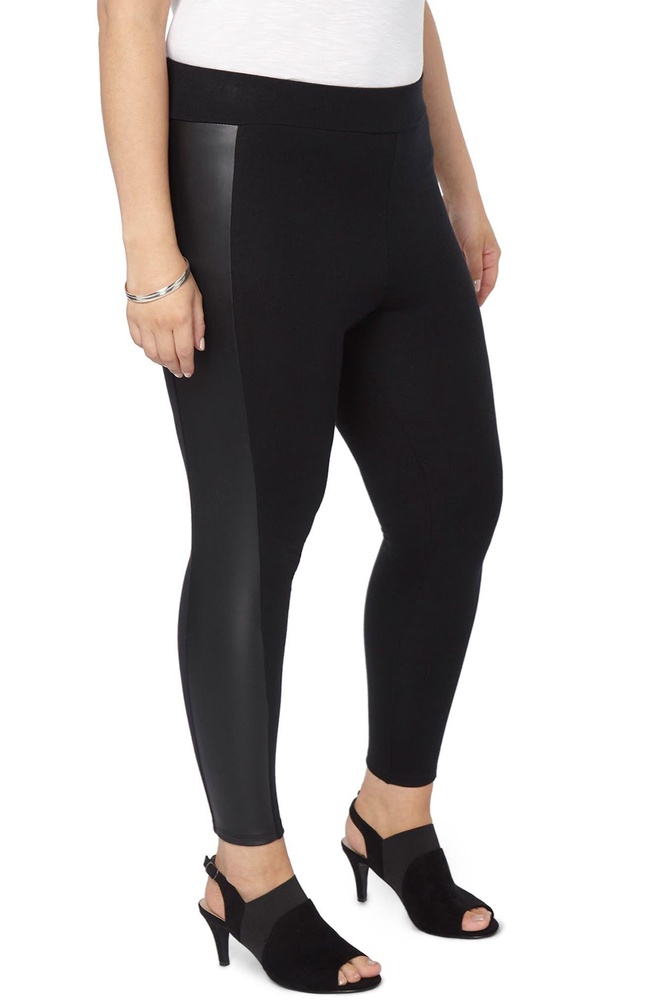 Faux Leather Panel Ponte Knit Leggings,                         Main,                         color, Black