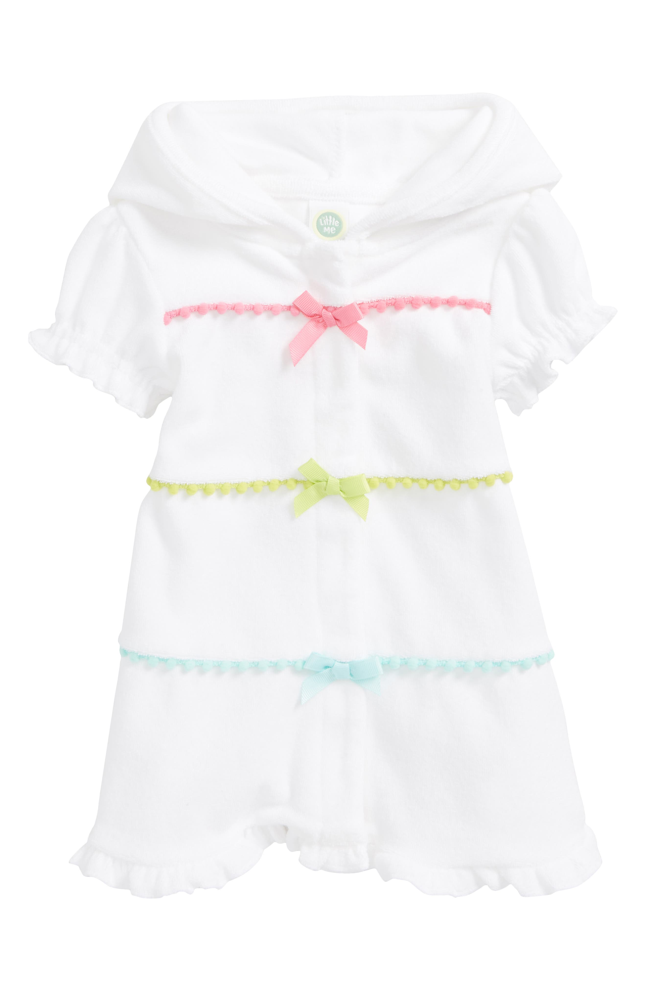 Main Image - Little Me Hooded Swim Cover-Up (Baby Girls)