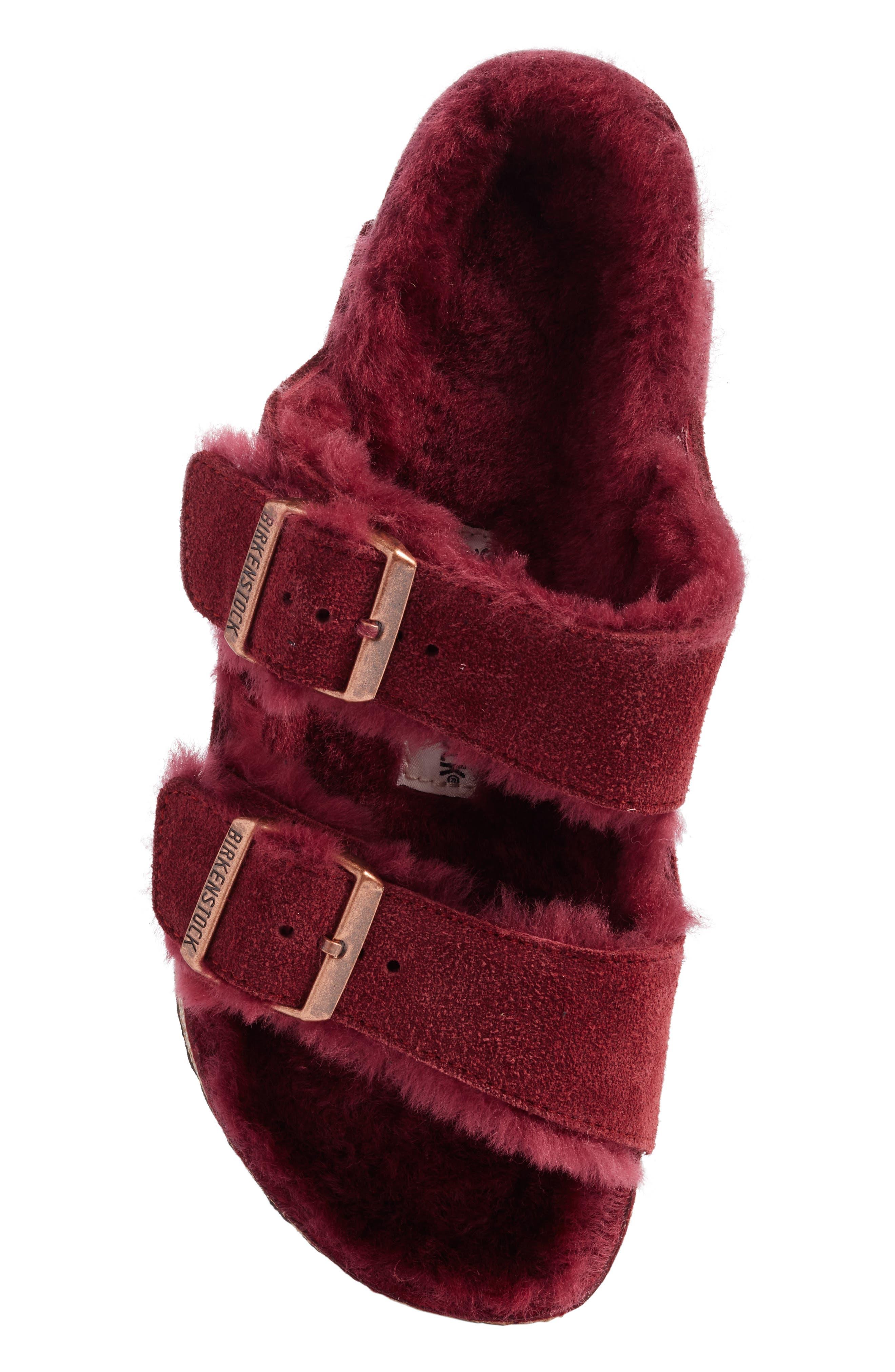 Arizona Genuine Shearling Lined Slide Sandal,                             Alternate thumbnail 5, color,                             Bordeaux / Bordeaux