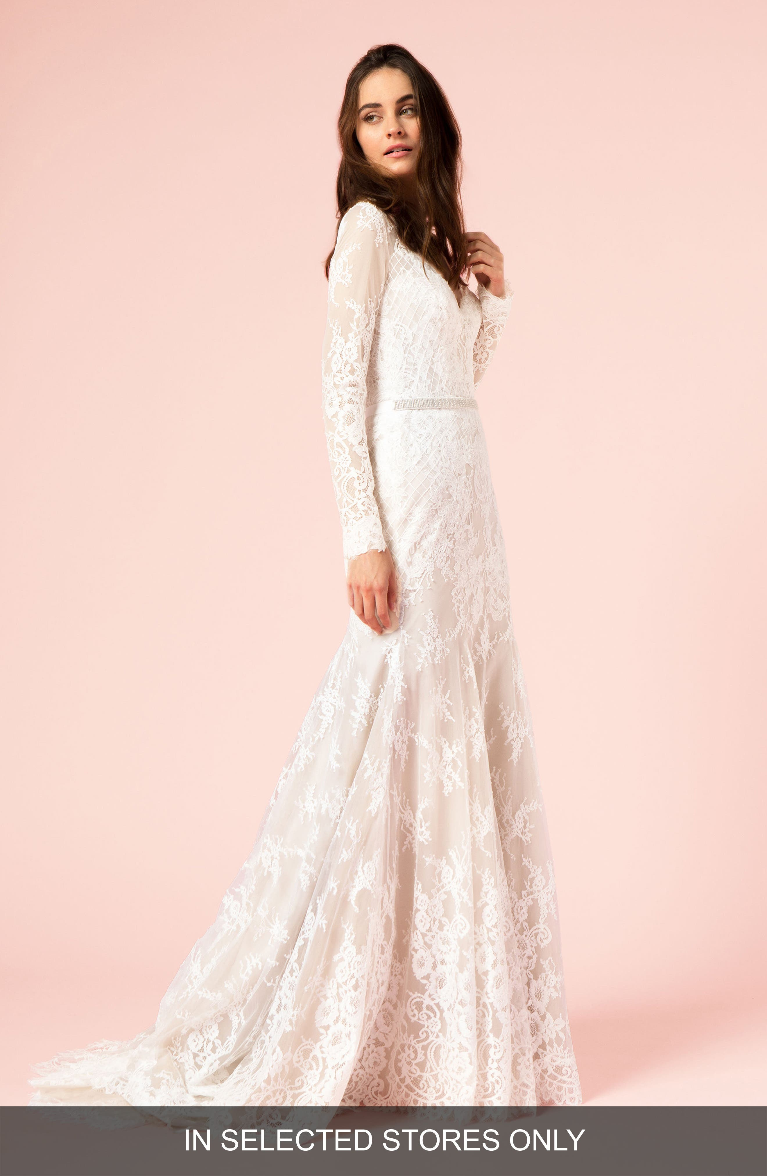 Lace Trumpet Gown,                             Main thumbnail 1, color,                             Silk White/Cafe