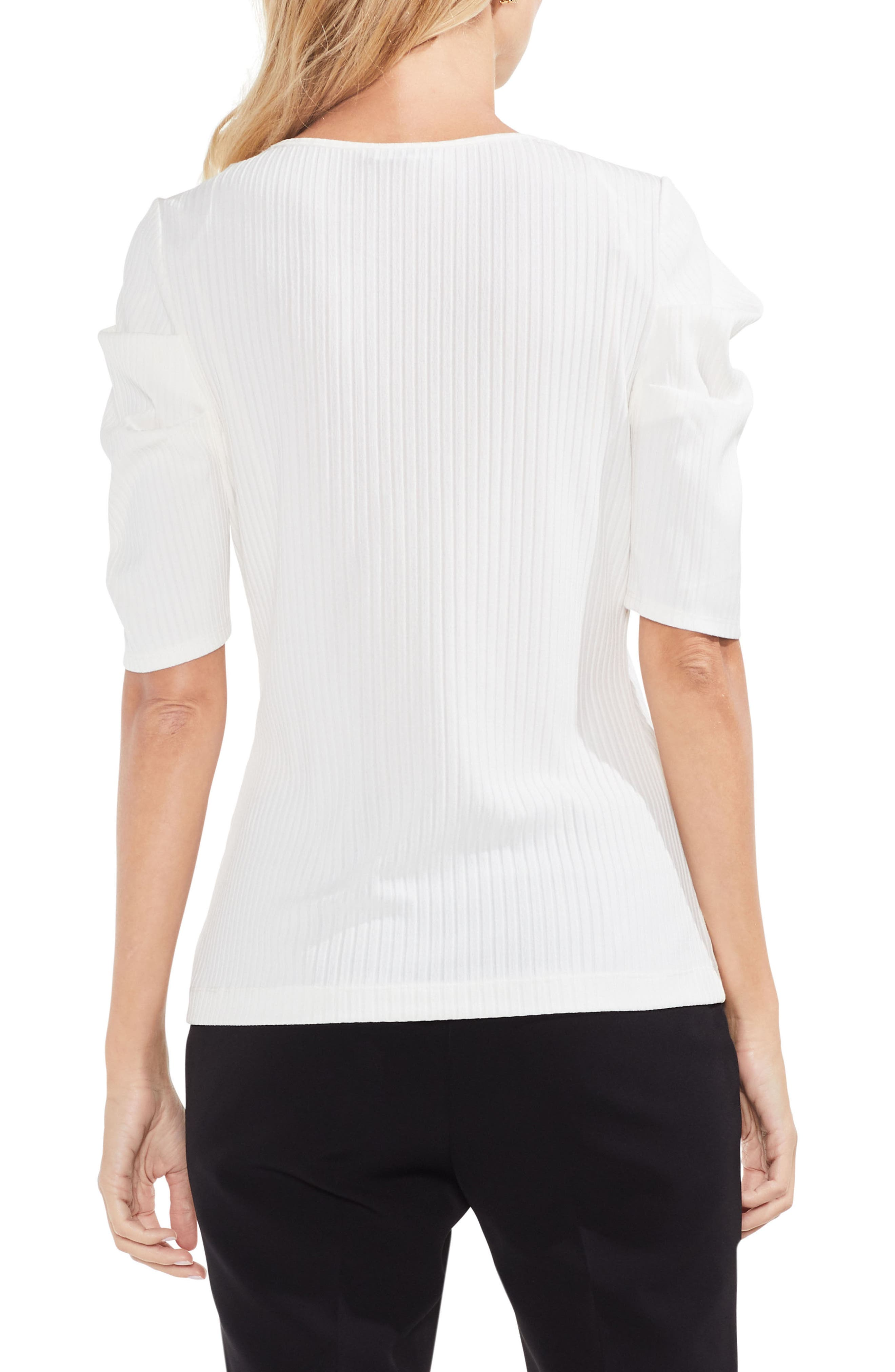 Draped Sleeve Ribbed Tee,                             Alternate thumbnail 2, color,                             Antique White