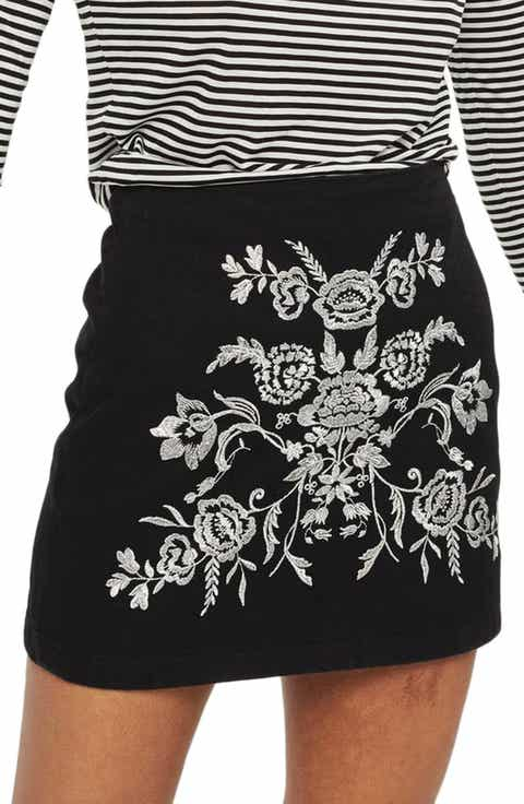 Topshop Floral Embroidered A-Line Skirt
