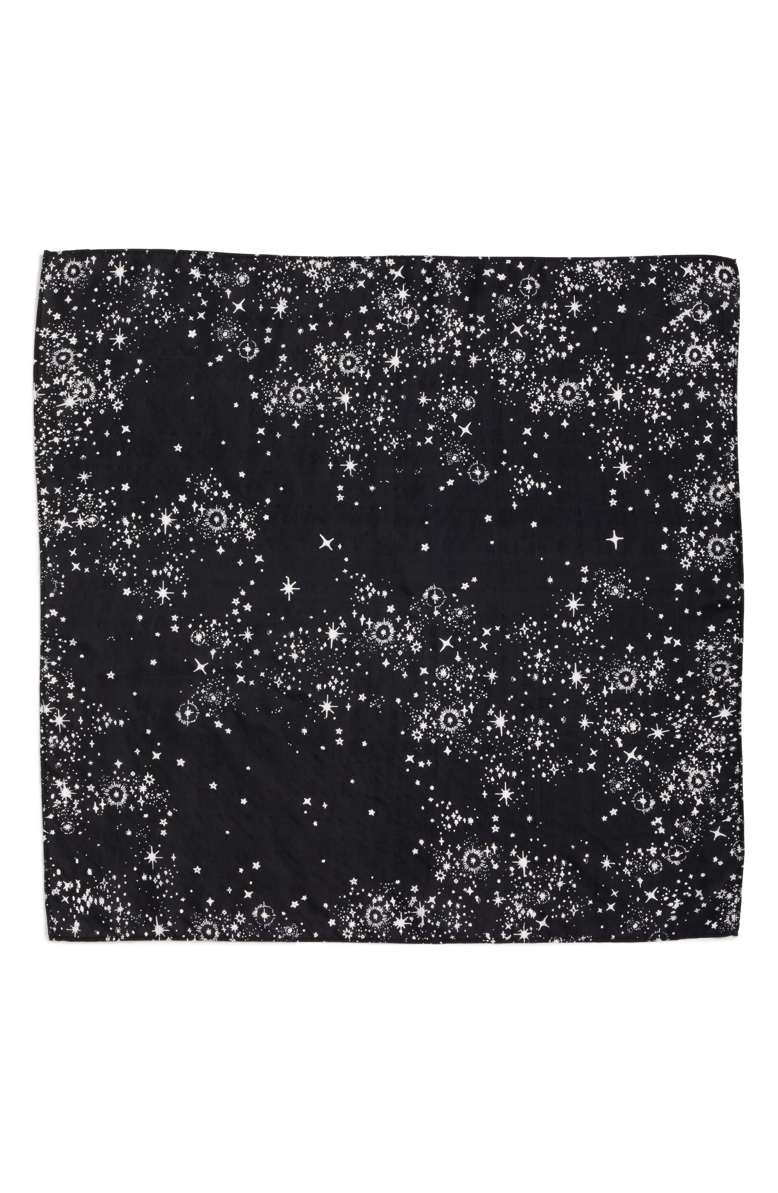 Print Silk Neckerchief,                             Alternate thumbnail 3, color,                             Black Starlight Dream