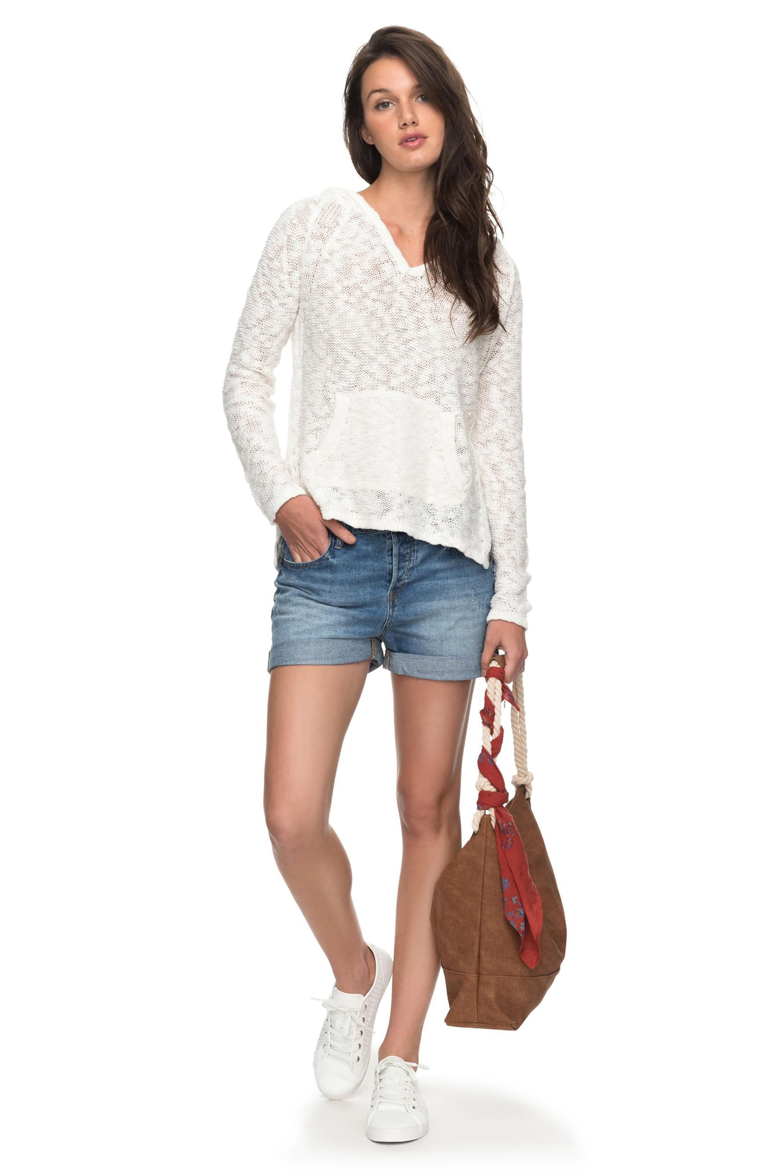Slouchy Morning Cotton Knit Hoodie,                             Alternate thumbnail 2, color,                             Marshmallow