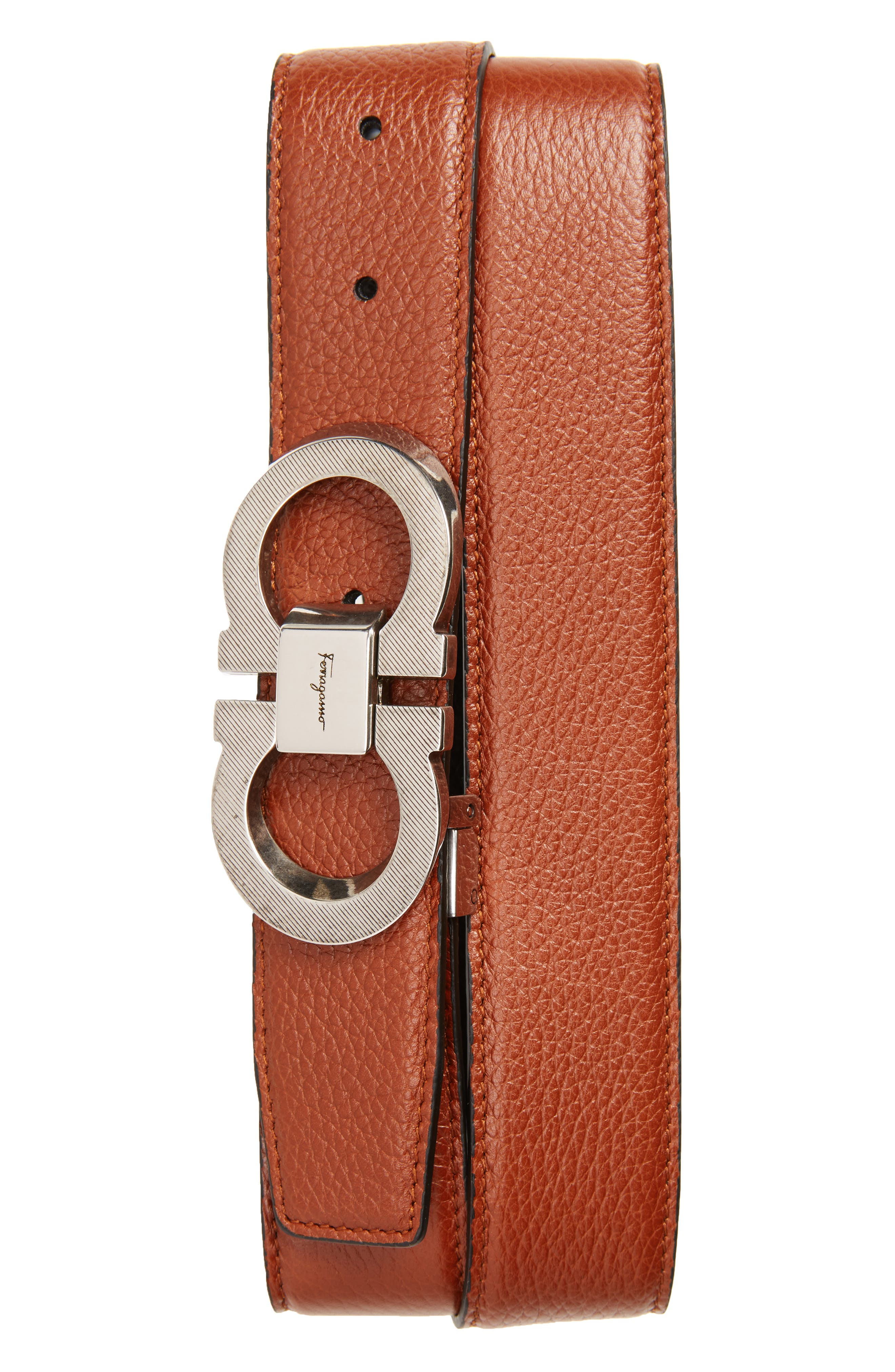 Salvatore Ferragamo Etched Double Gancini Leather Belt