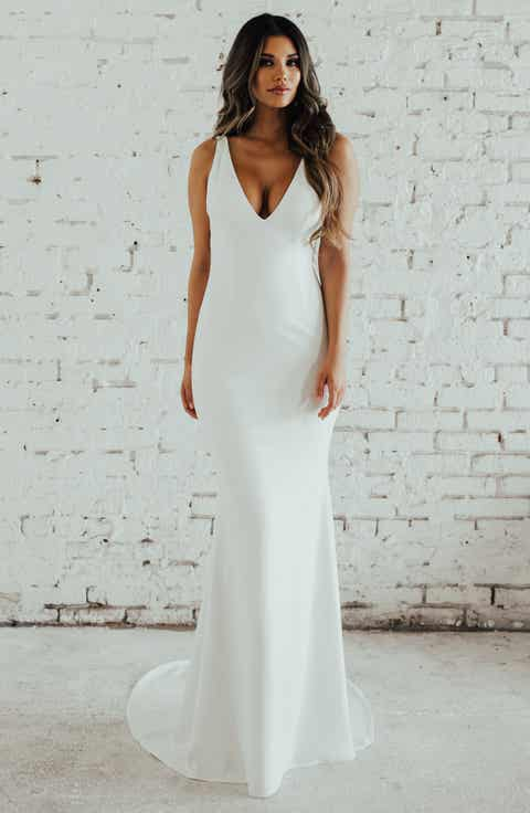 Noel And Jean Paloma Plunge Back Trumpet Gown