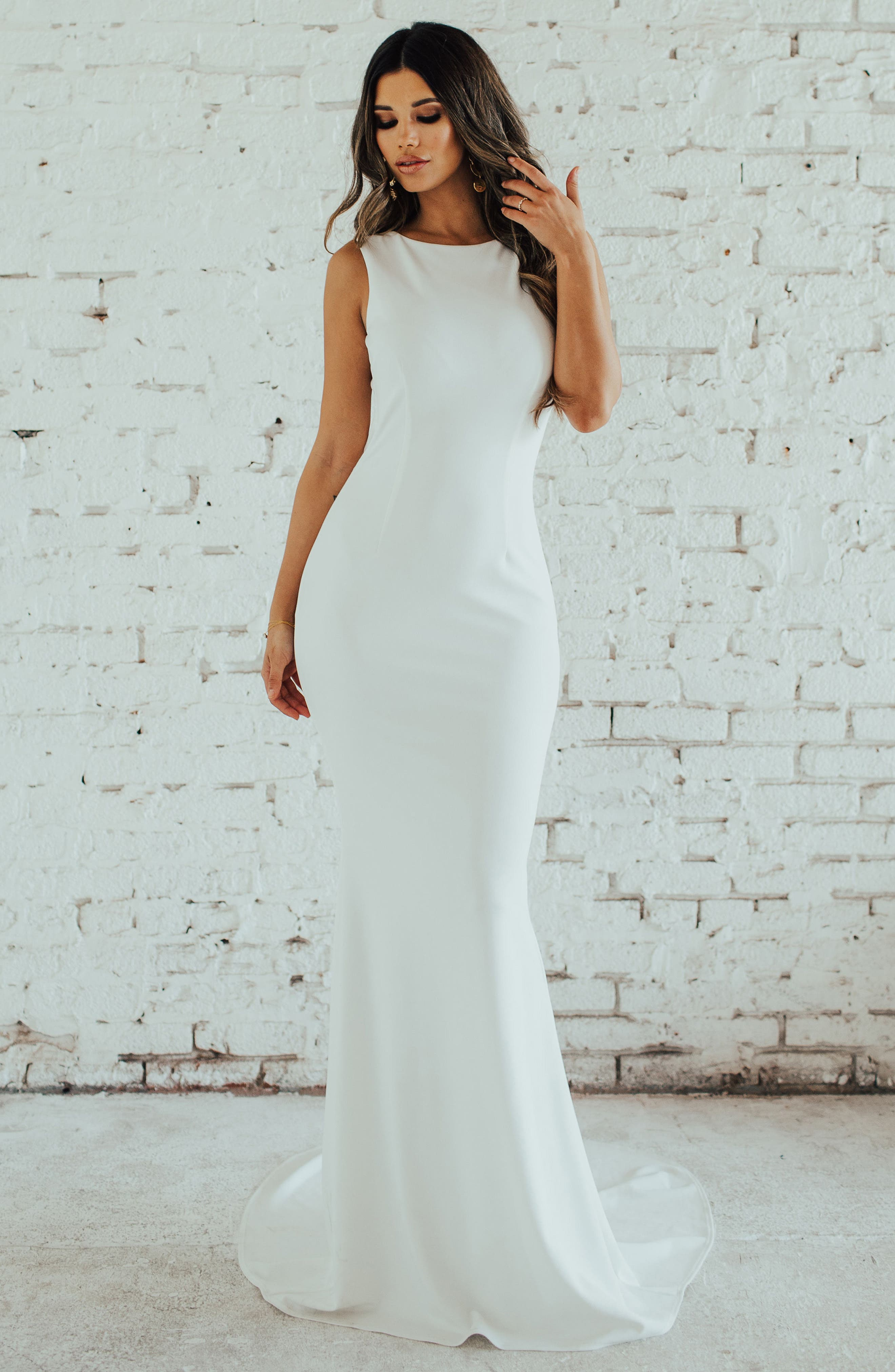 Low Back Crepe Mermaid Gown,                             Alternate thumbnail 6, color,                             Ivory