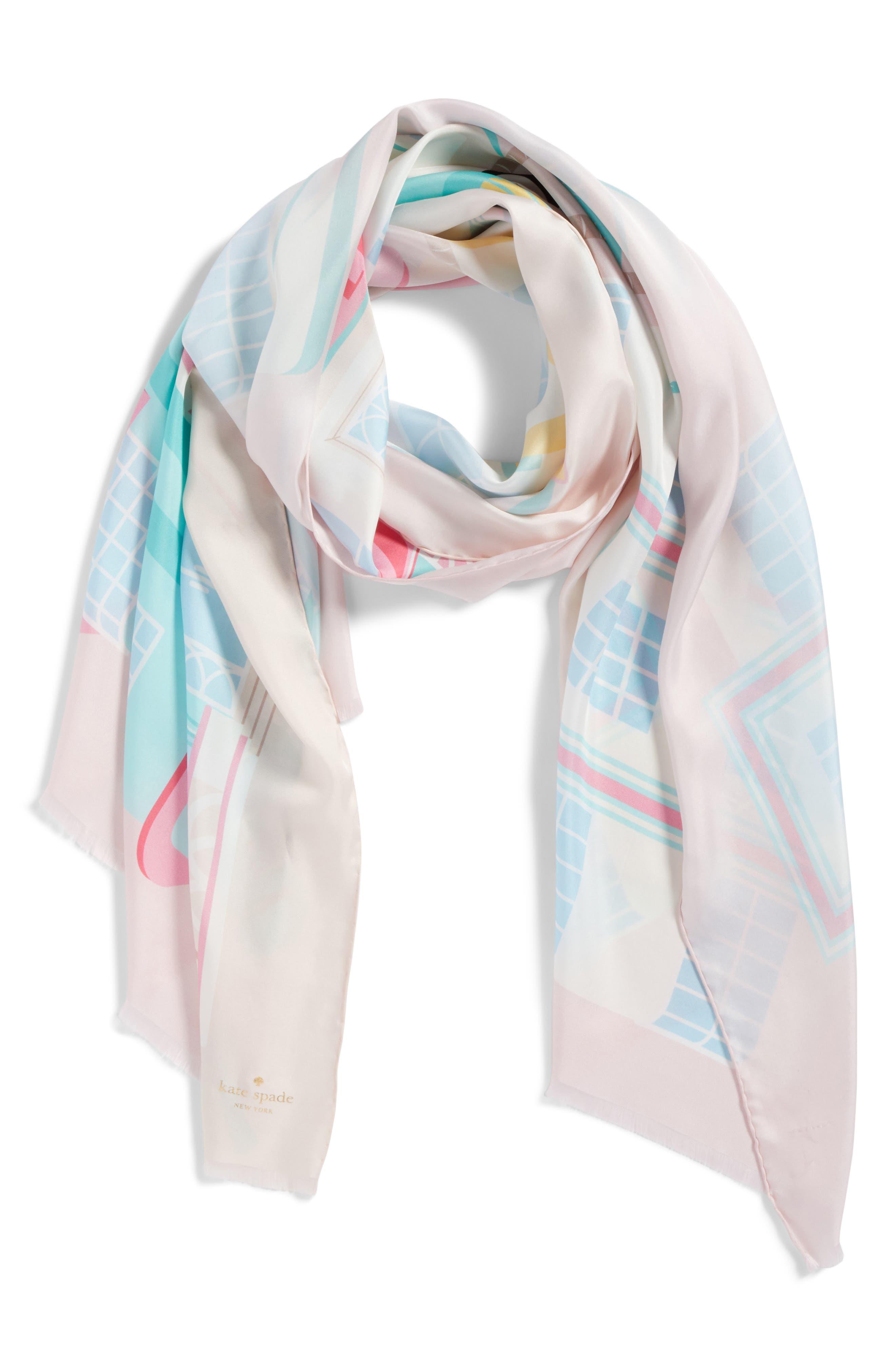 deco hotel oblong silk scarf,                             Alternate thumbnail 3, color,                             Valentine Pink