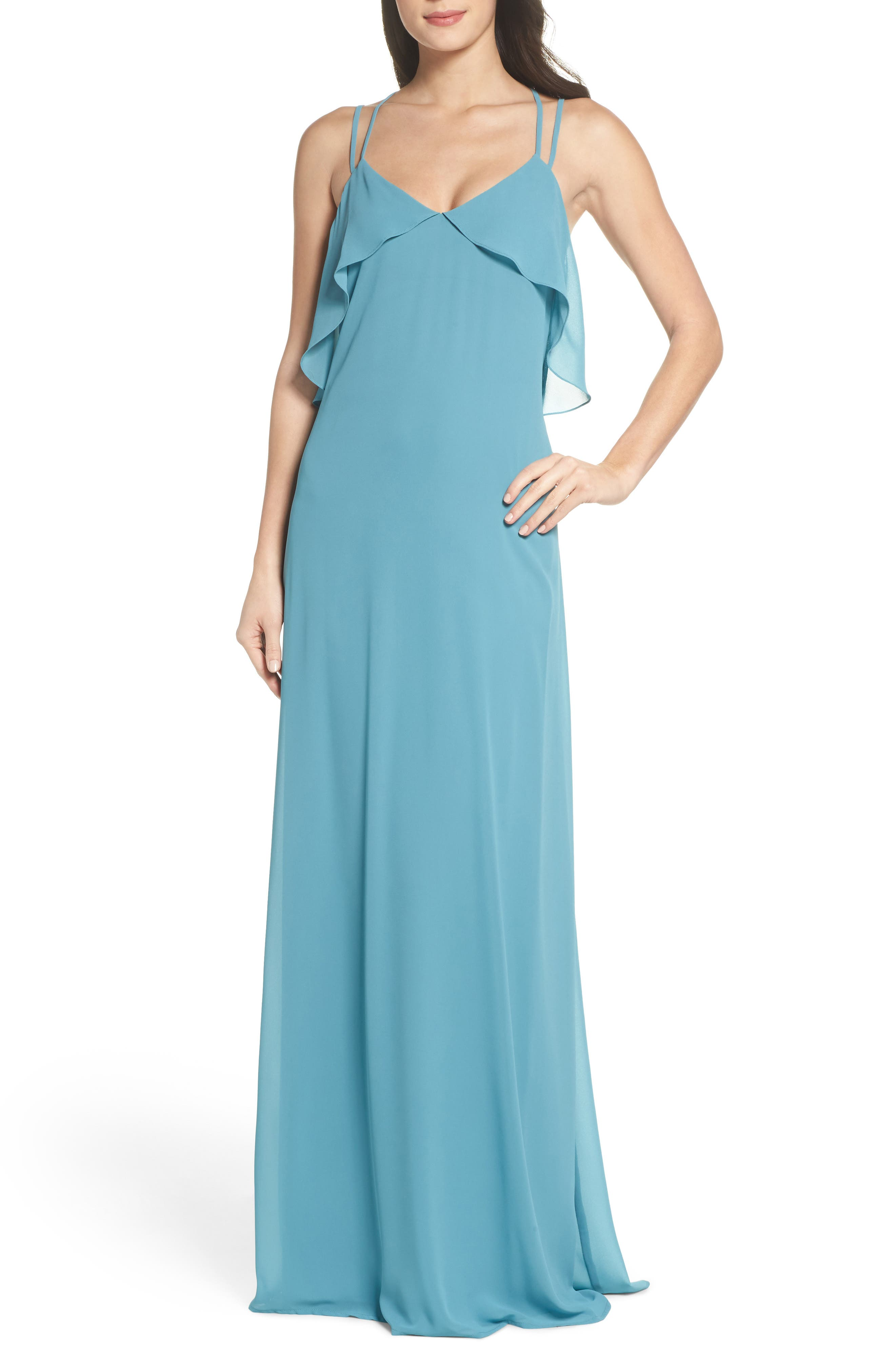 Avery Strappy Ruffle V-Neck Gown,                         Main,                         color, Teal