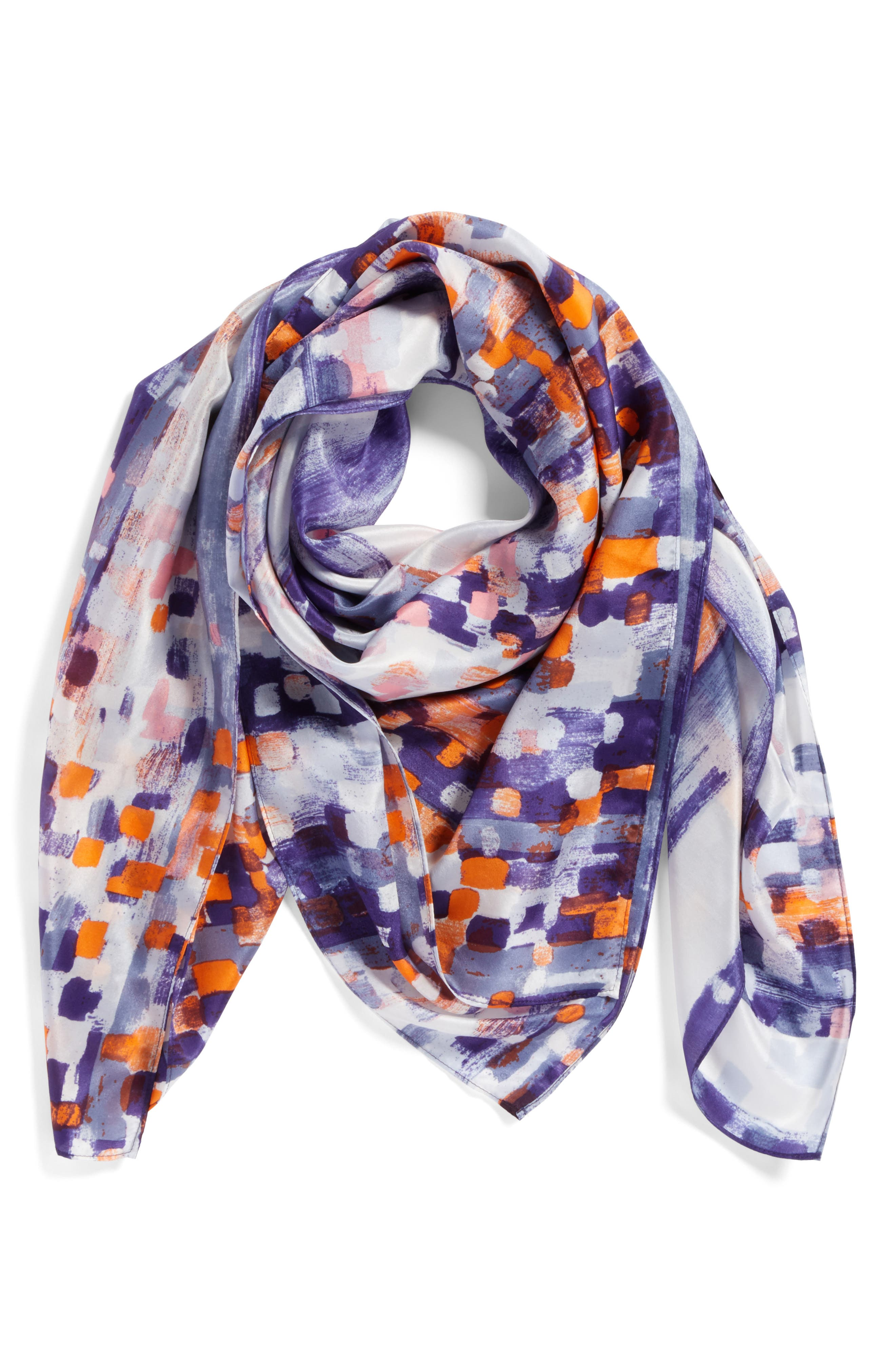 Print Silk Square Scarf,                             Alternate thumbnail 2, color,                             Blue Abstract Ombre Print