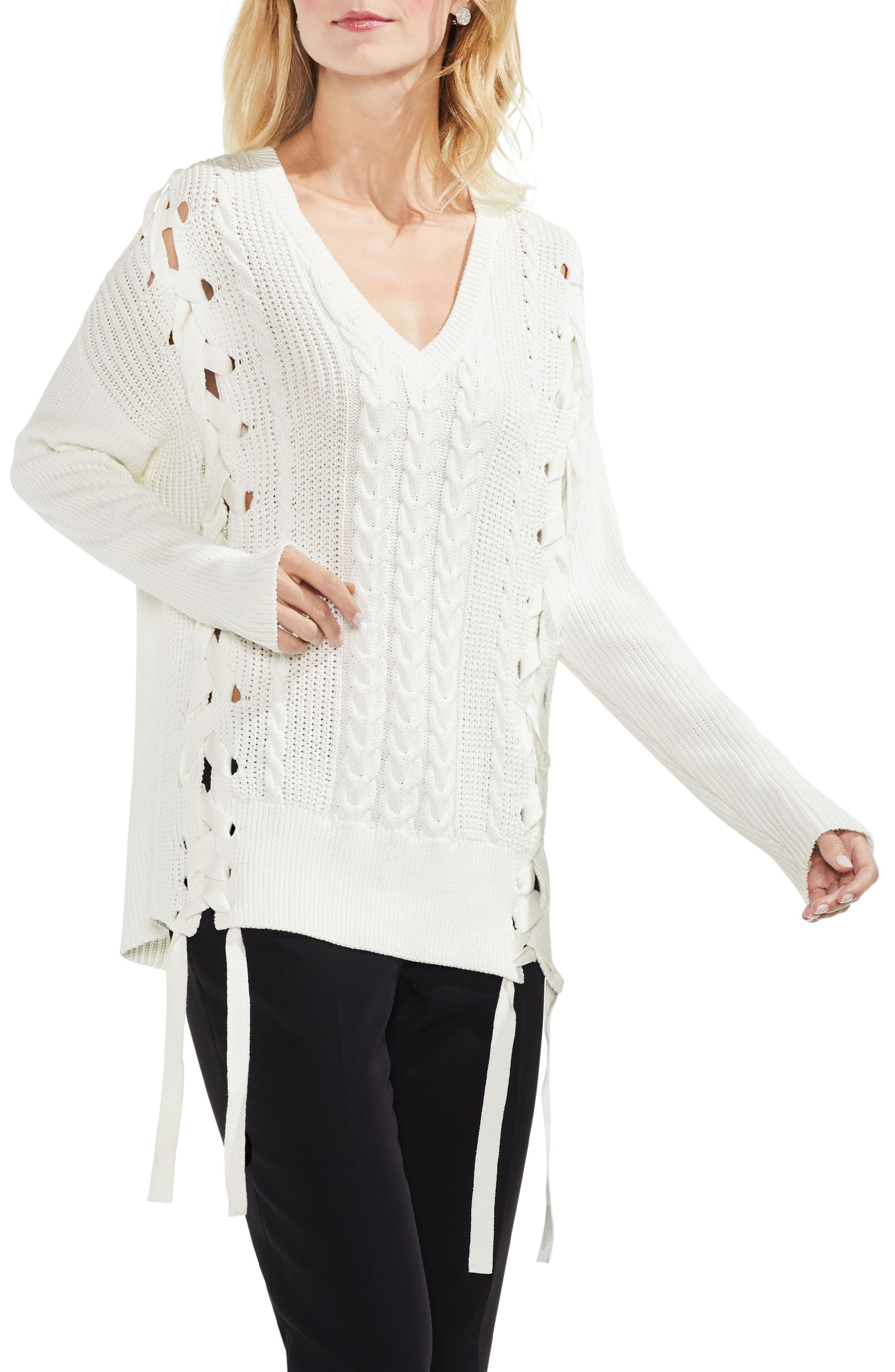 Alternate Image 1 Selected - Vince Camuto Lace-Up Cable Sweater