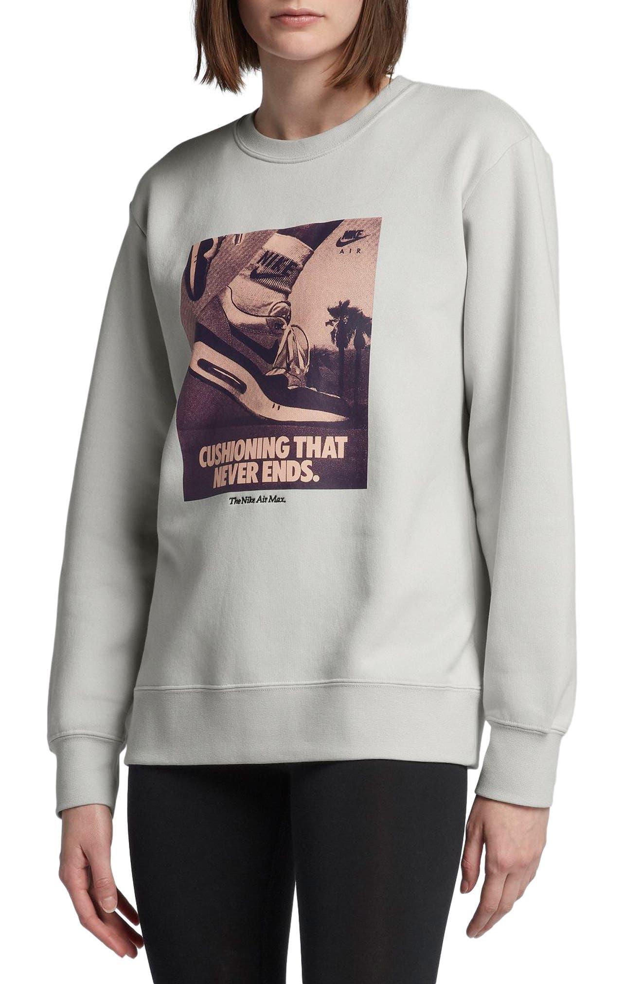 Sportswear Air Max 1 Women's Graphic Crewneck Sweatshirt,                             Main thumbnail 1, color,                             Vast Grey