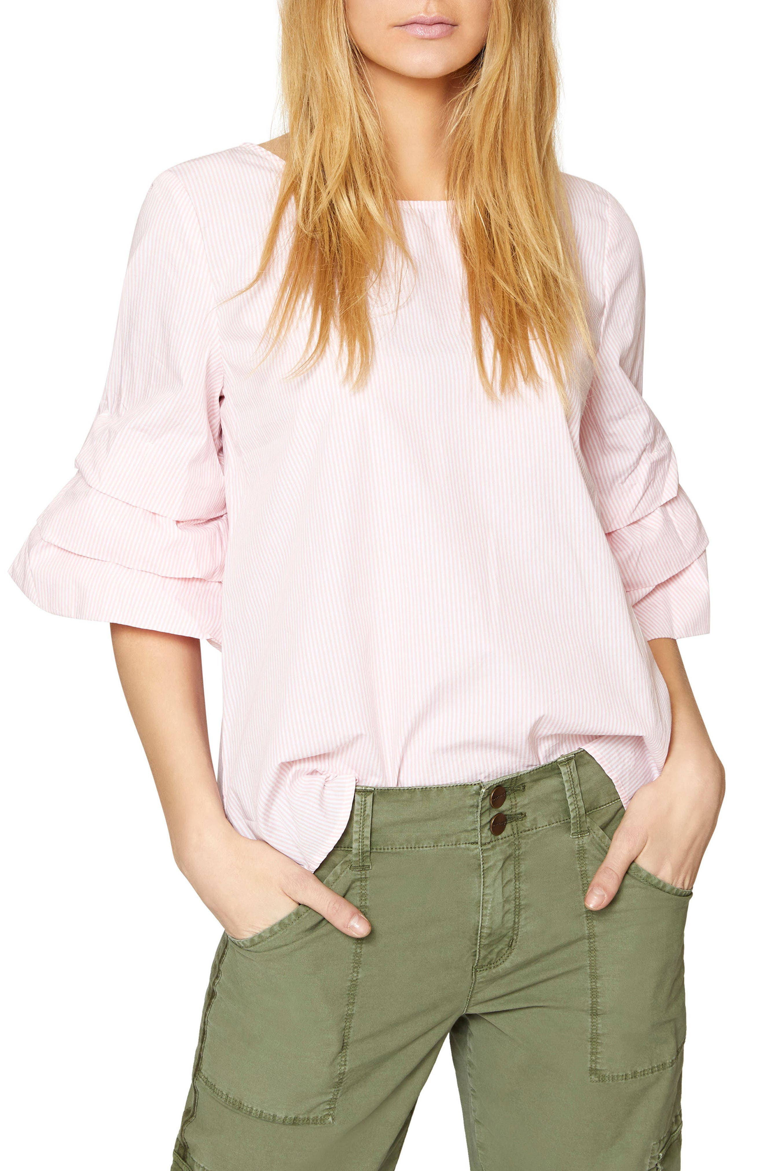 Delphine Tiered Sleeve Top,                             Main thumbnail 1, color,                             Flamingo Stripe