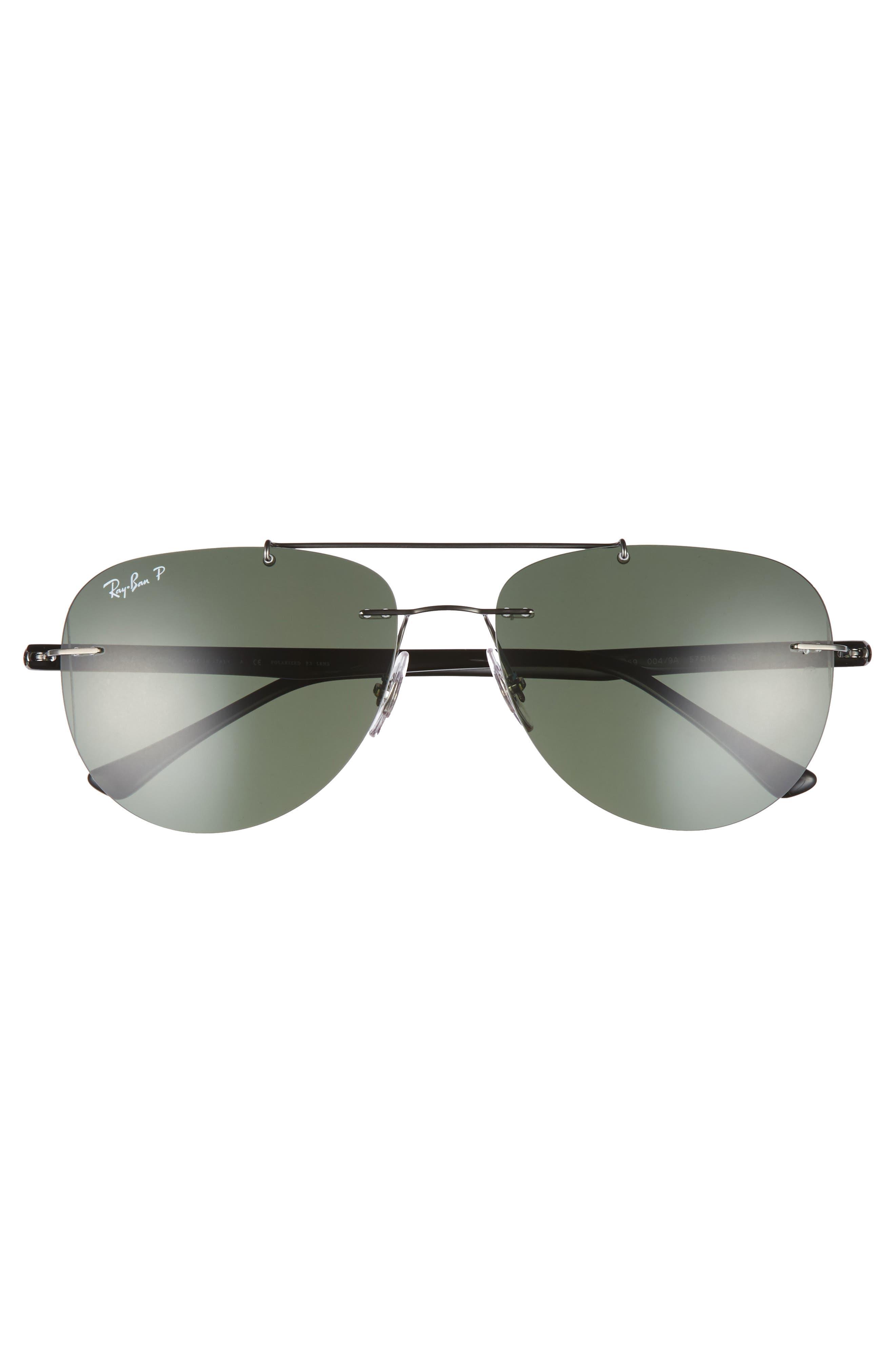 Phantos 57mm Polarized Rimless Aviator Sunglasses,                             Alternate thumbnail 2, color,                             Polar Gunmetal