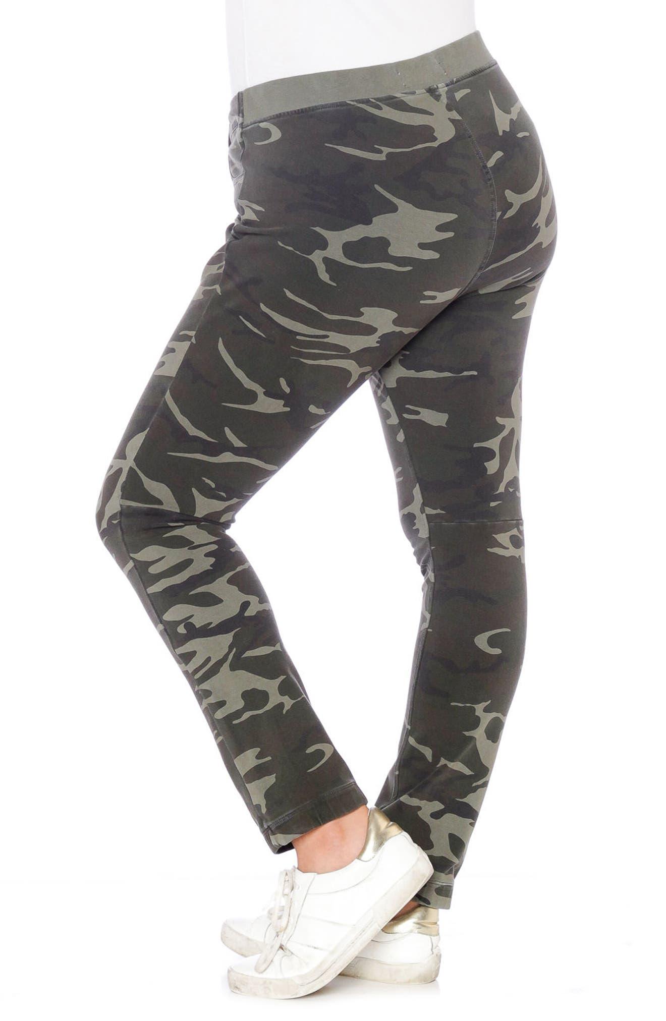 Super Stretch Knit Pants,                             Alternate thumbnail 4, color,                             Olive Camo