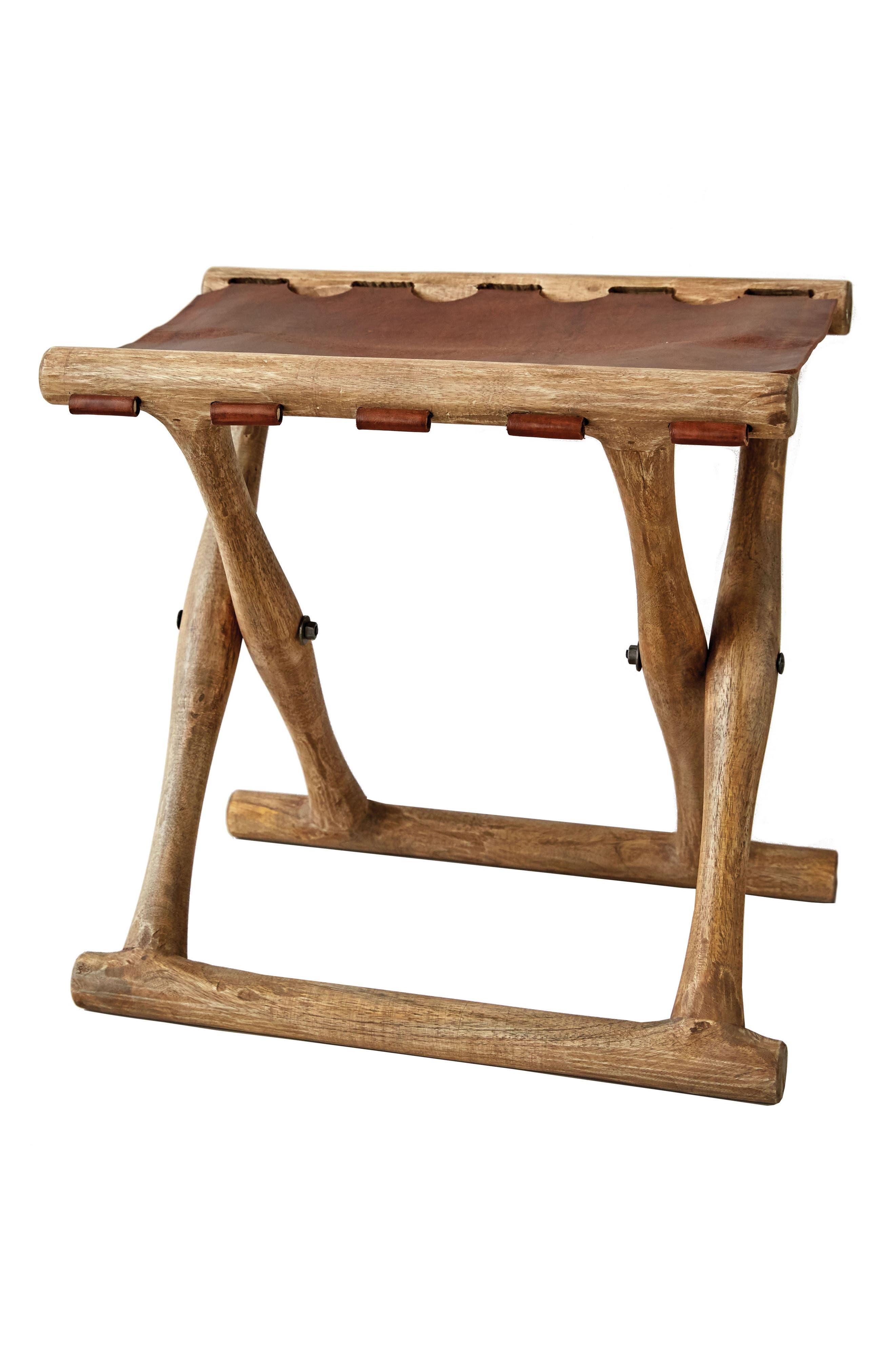 Folding Wood Stool,                         Main,                         color, Brown