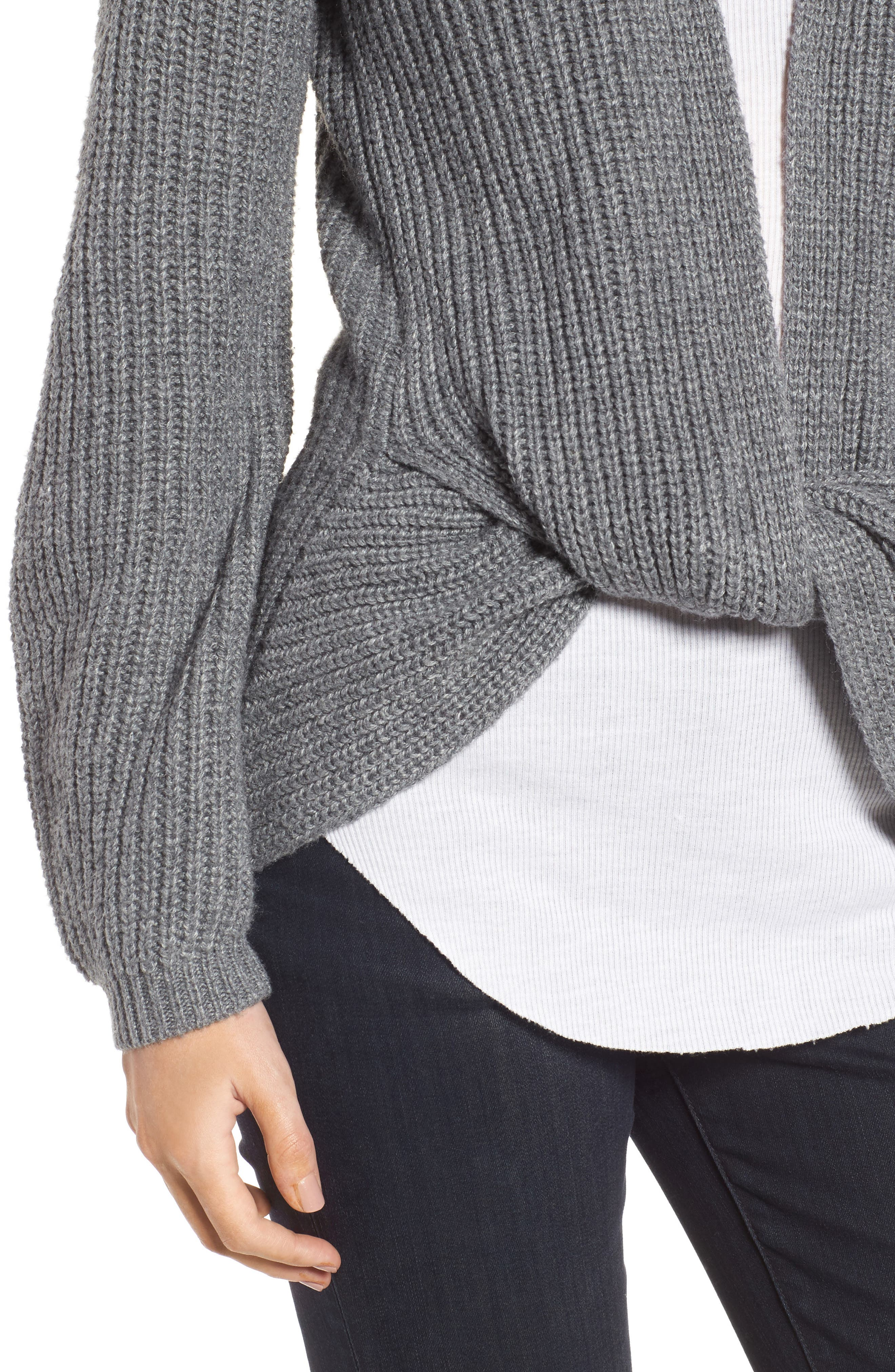 Twist Front Sweater,                             Alternate thumbnail 4, color,                             Grey Dark Heather