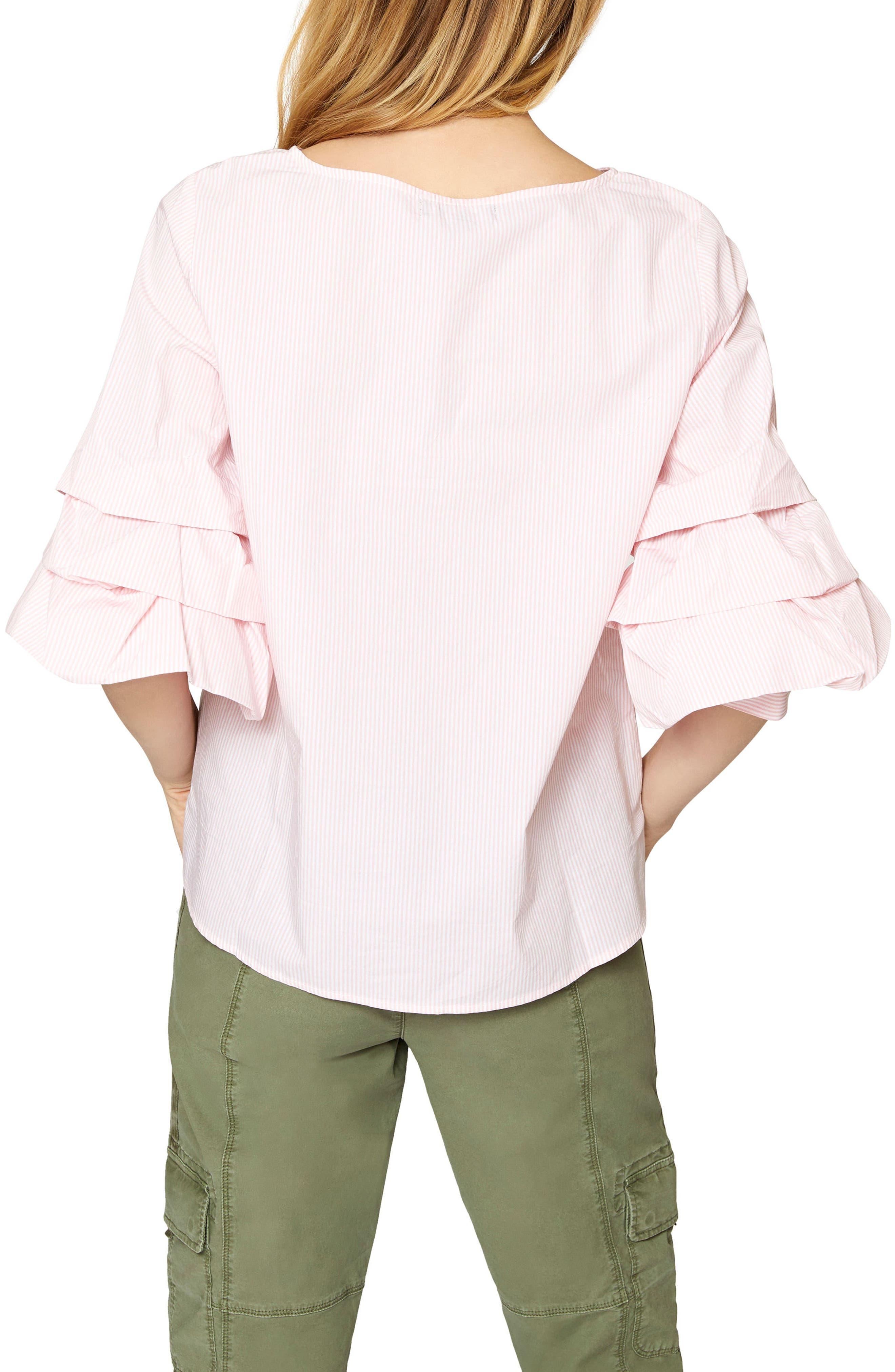 Delphine Tiered Sleeve Top,                             Alternate thumbnail 3, color,                             Flamingo Stripe