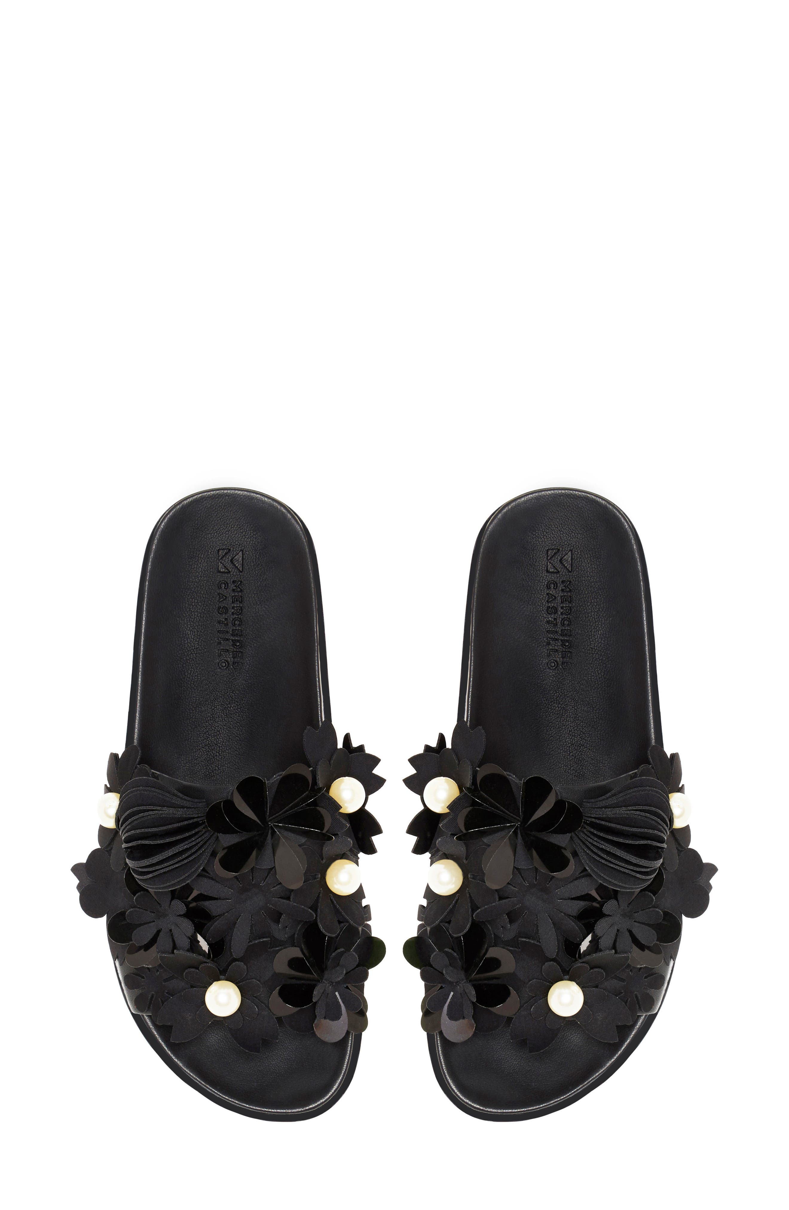 Alyse Flowered Slide Sandal,                             Alternate thumbnail 7, color,                             Black