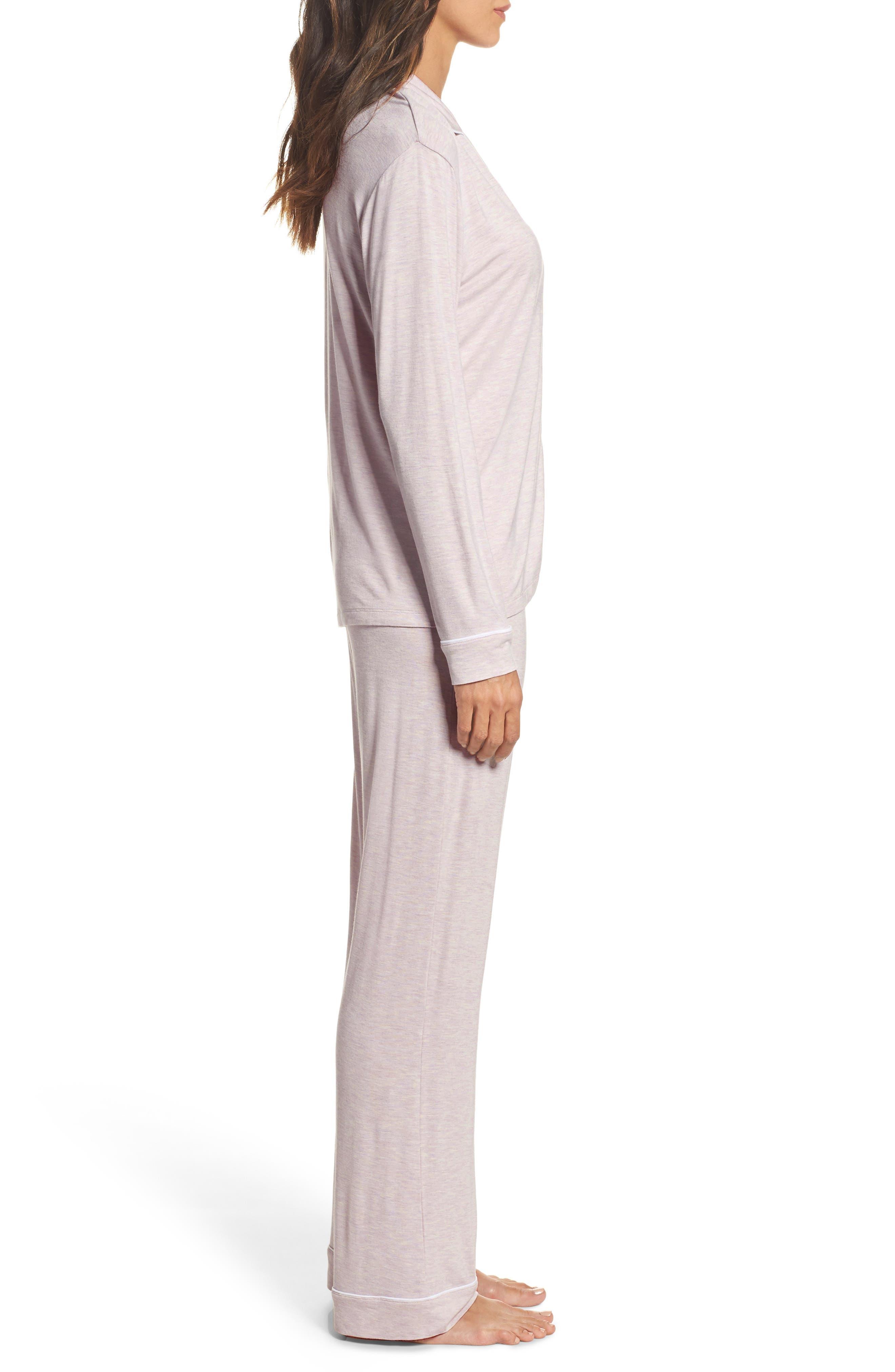 Lenon Jersey Pajamas,                             Alternate thumbnail 3, color,                             Lavender Fog Heather