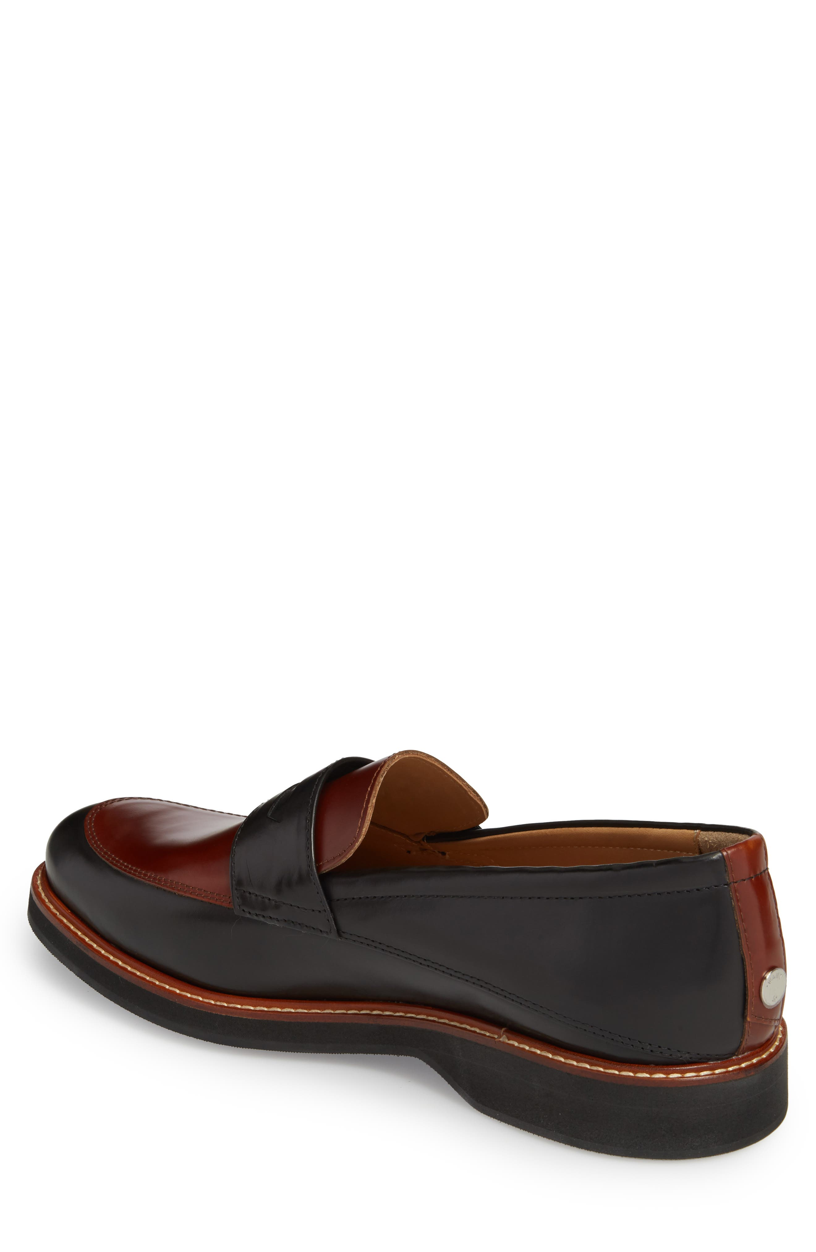 Marcus Penny Loafer,                             Alternate thumbnail 2, color,                             Black/ Cognac
