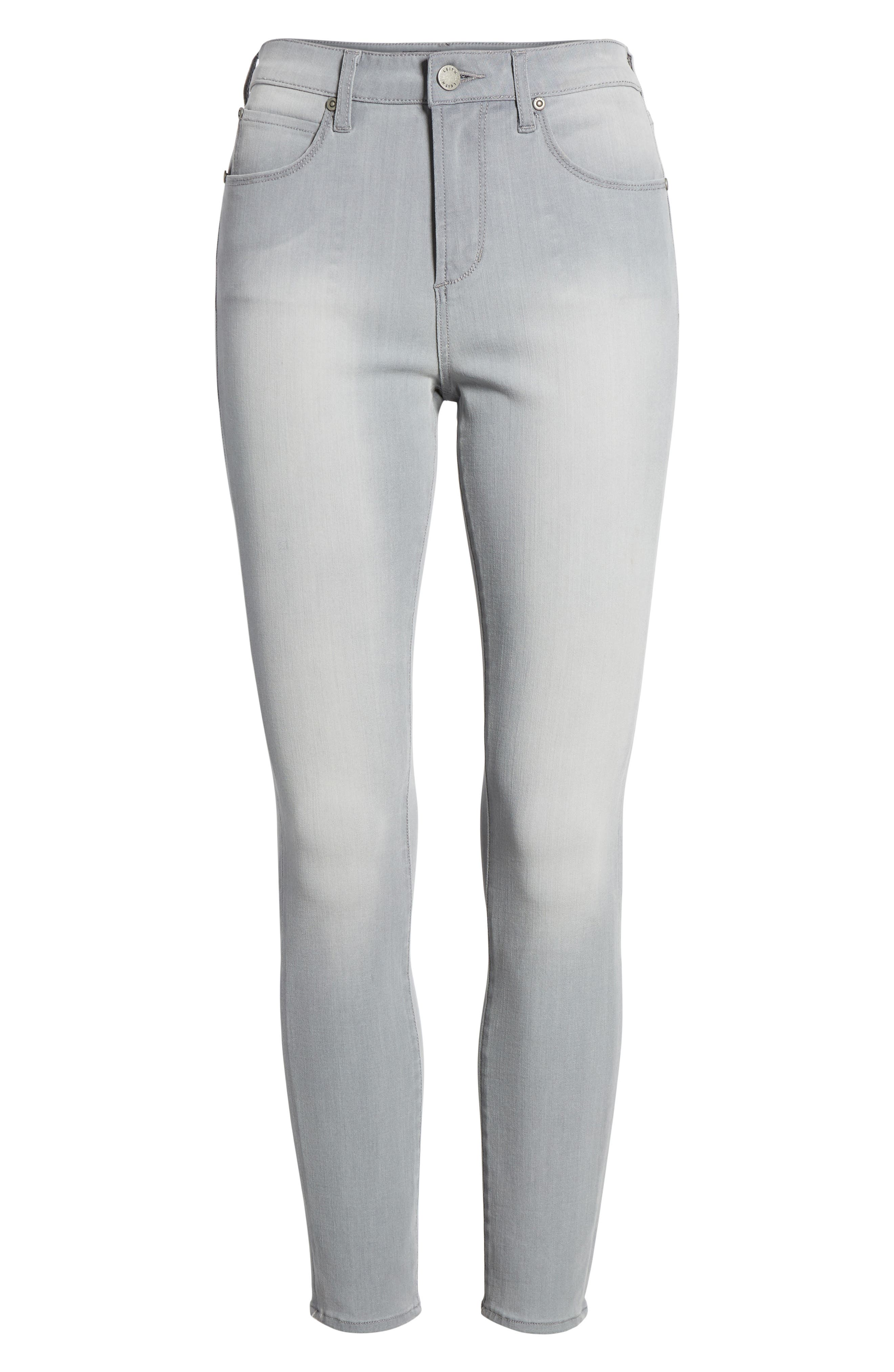 High Waist Skinny Jeans,                             Alternate thumbnail 7, color,                             Grey Wash