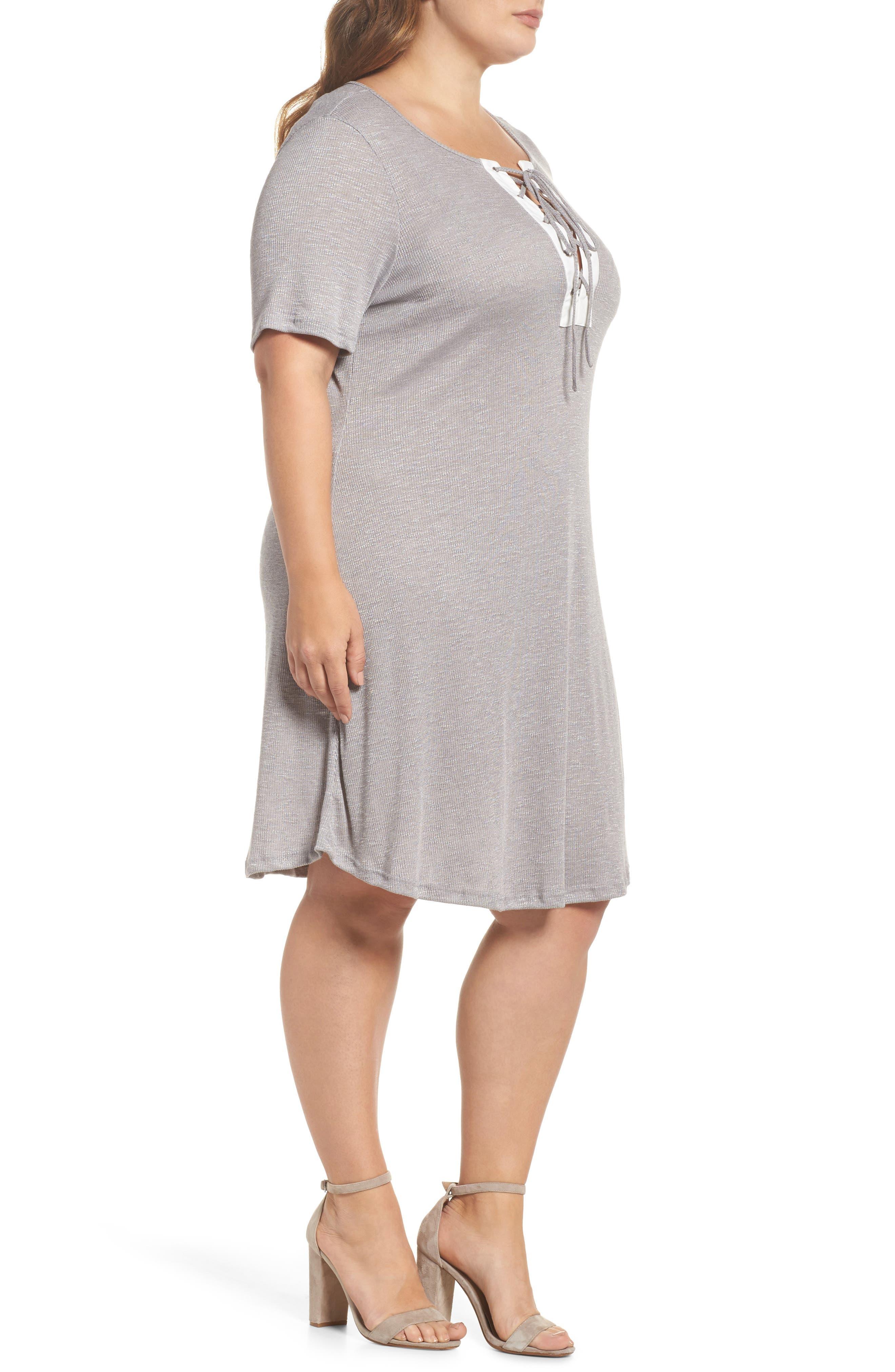 Lace-Up Knit Shift Dress,                             Alternate thumbnail 3, color,                             Grey