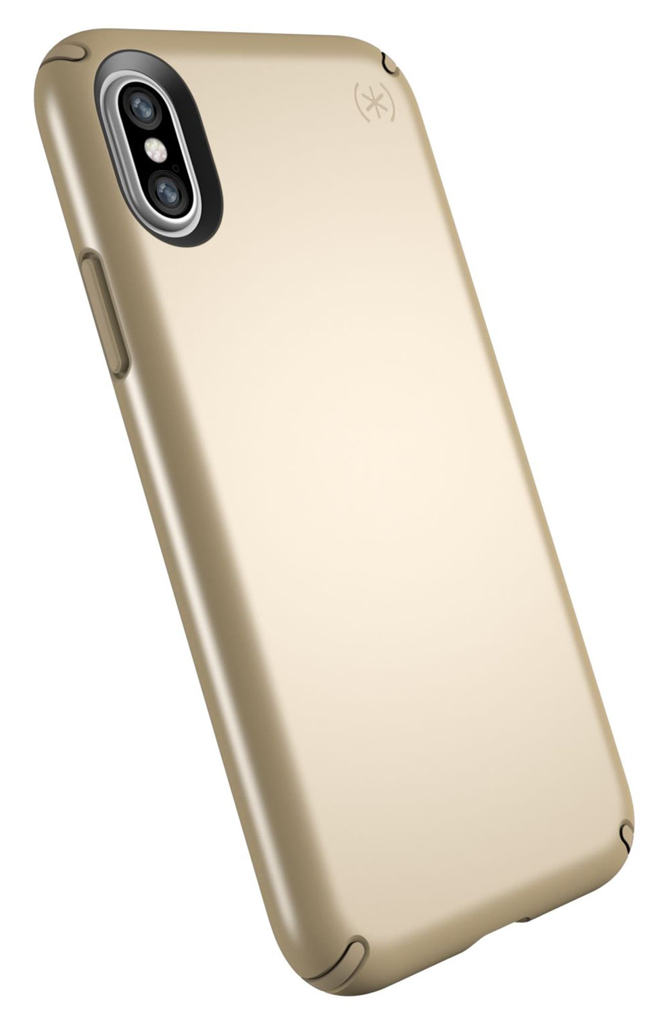 iPhone X Case,                             Alternate thumbnail 4, color,                             Pale Yellow Gold/ Brown