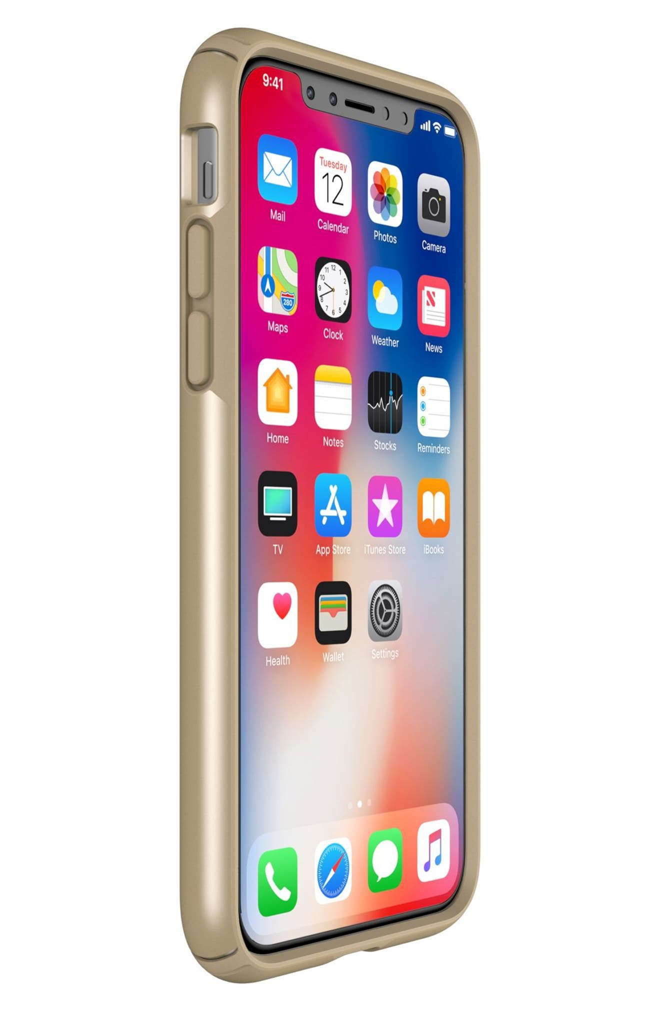 iPhone X Case,                             Alternate thumbnail 6, color,                             Pale Yellow Gold/ Brown