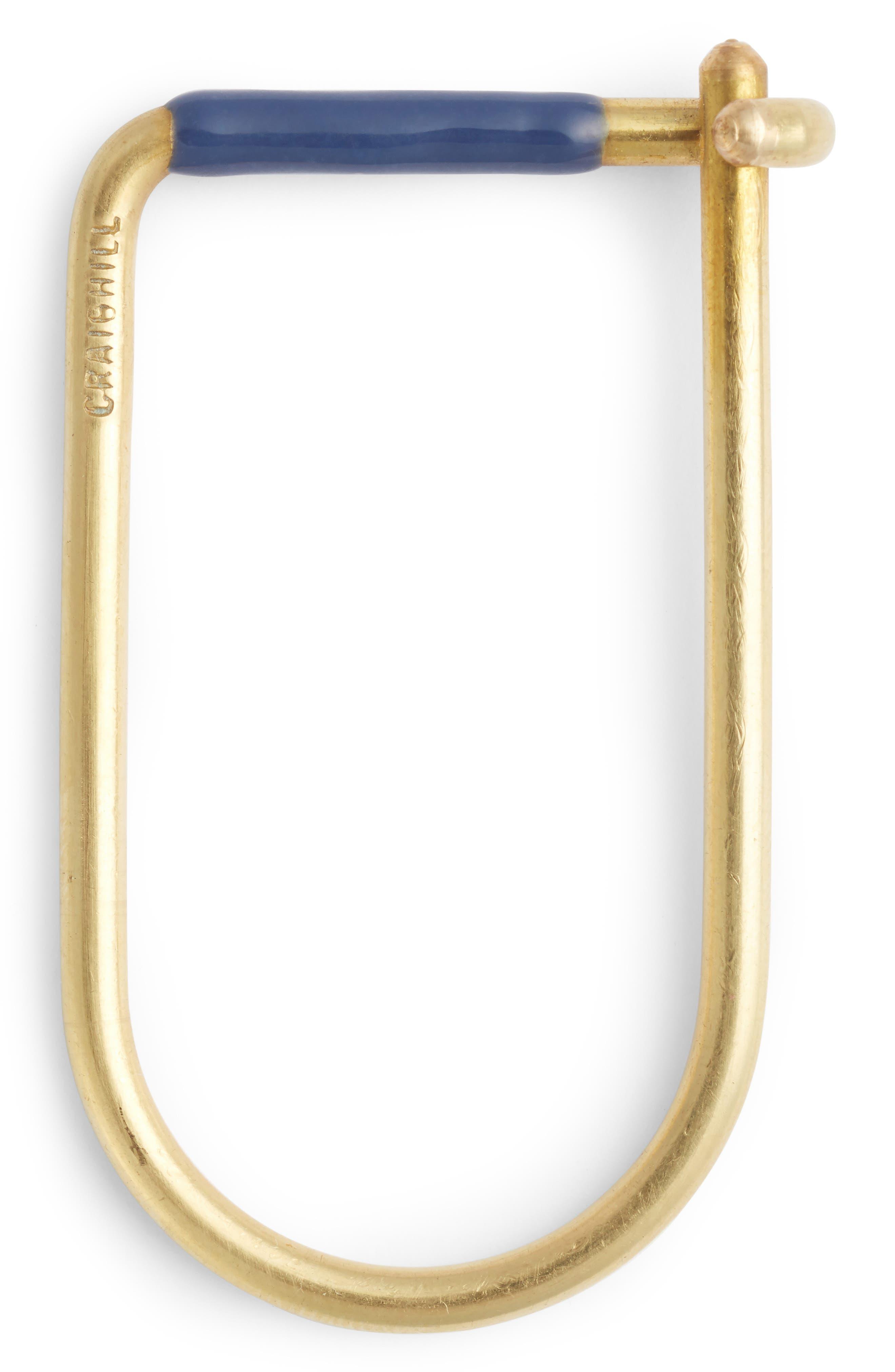 Wilson Enameled Brass Key Ring,                             Main thumbnail 1, color,                             Blue