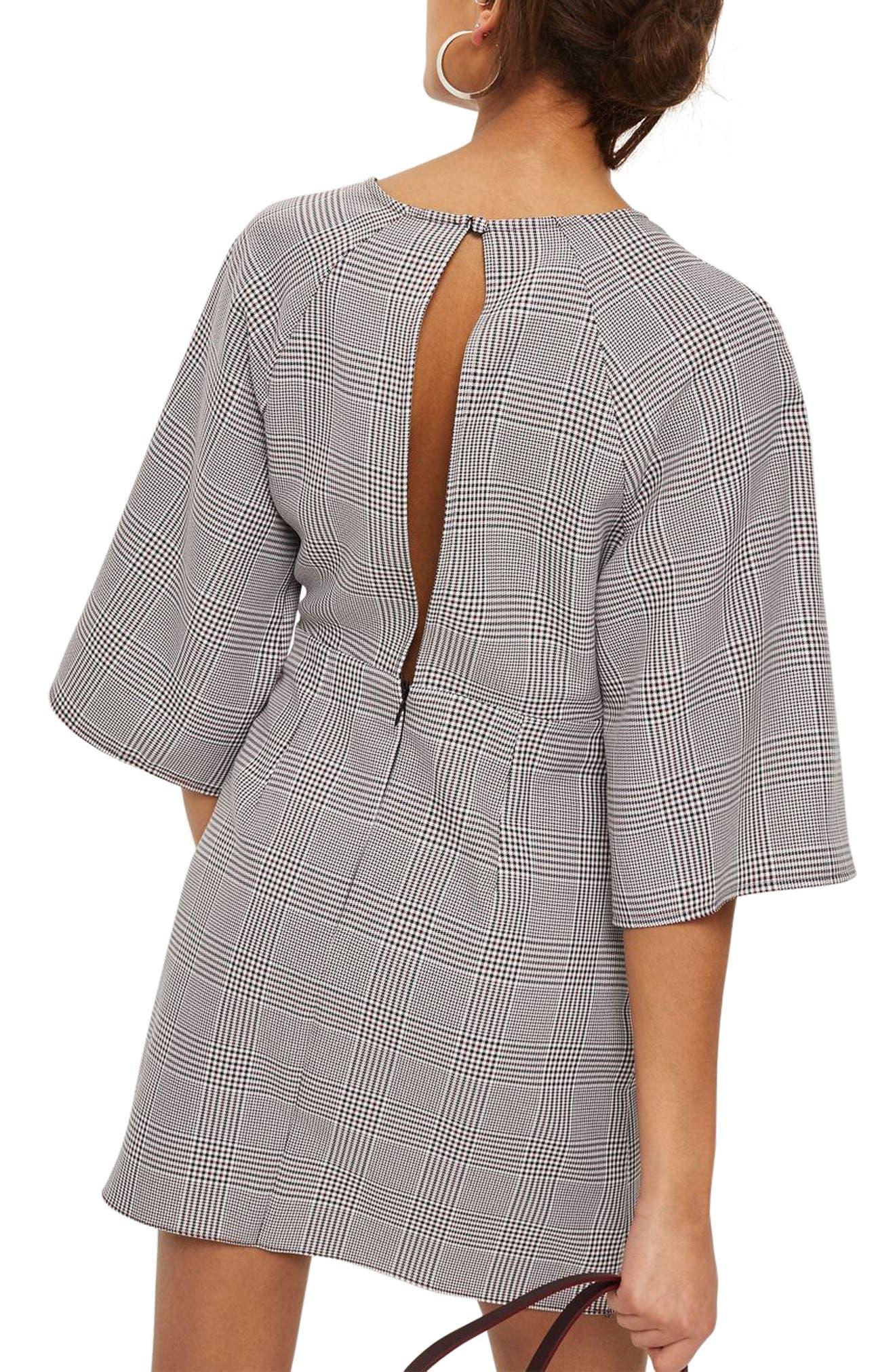 Plaid Knot Front Minidress,                             Alternate thumbnail 3, color,                             Grey Multi