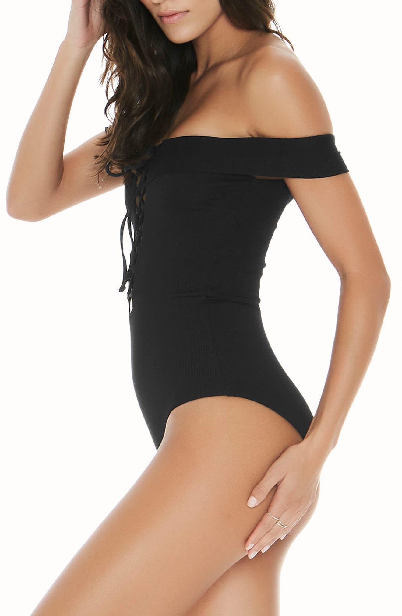Anja One-Piece Swimsuit,                             Alternate thumbnail 3, color,                             Black
