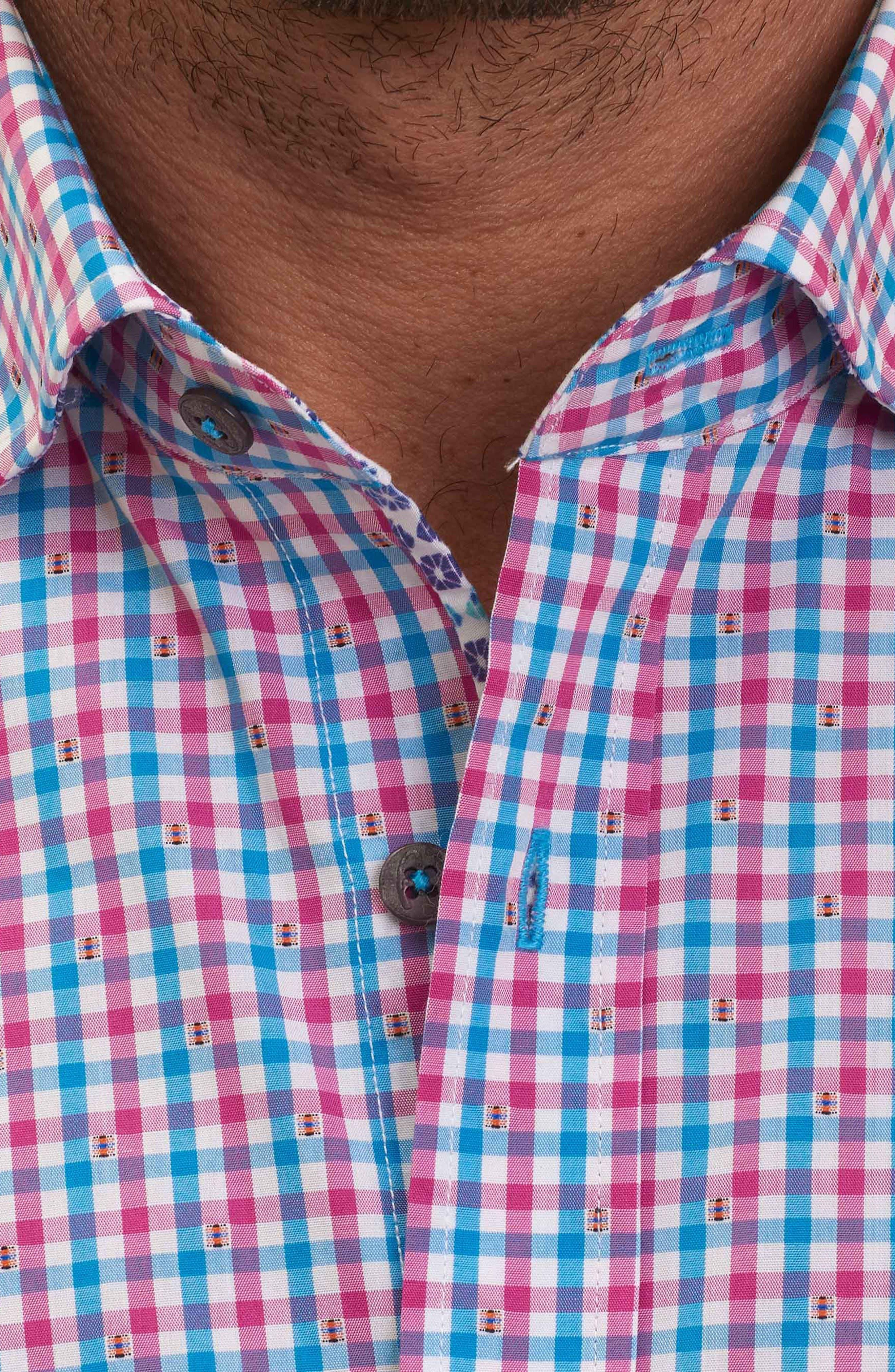 Makai Tailored Fit Gingham Sport Shirt,                             Alternate thumbnail 3, color,                             Berry