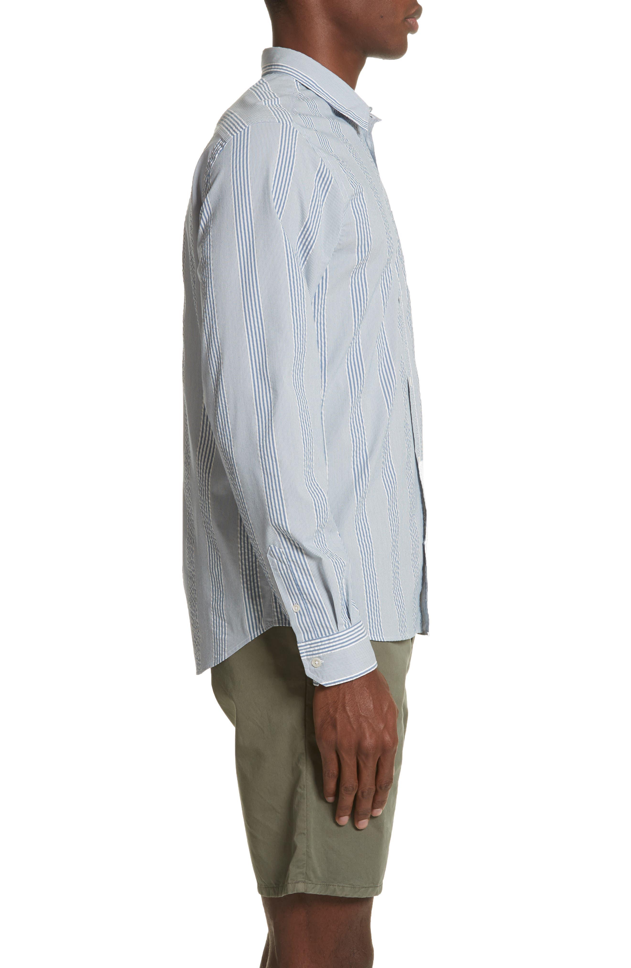 Osvald Seersucker Shirt,                             Alternate thumbnail 4, color,                             Luminous Blue