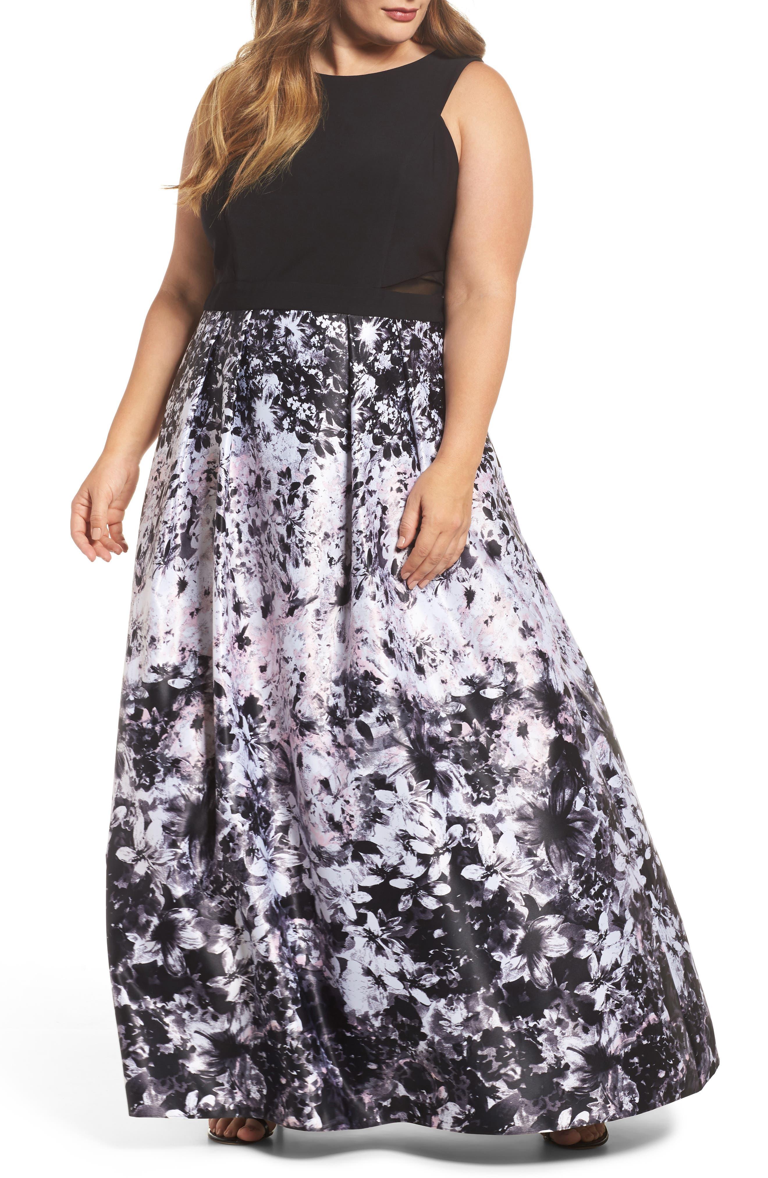 Floral Print Ballgown,                         Main,                         color, Black/ Pink