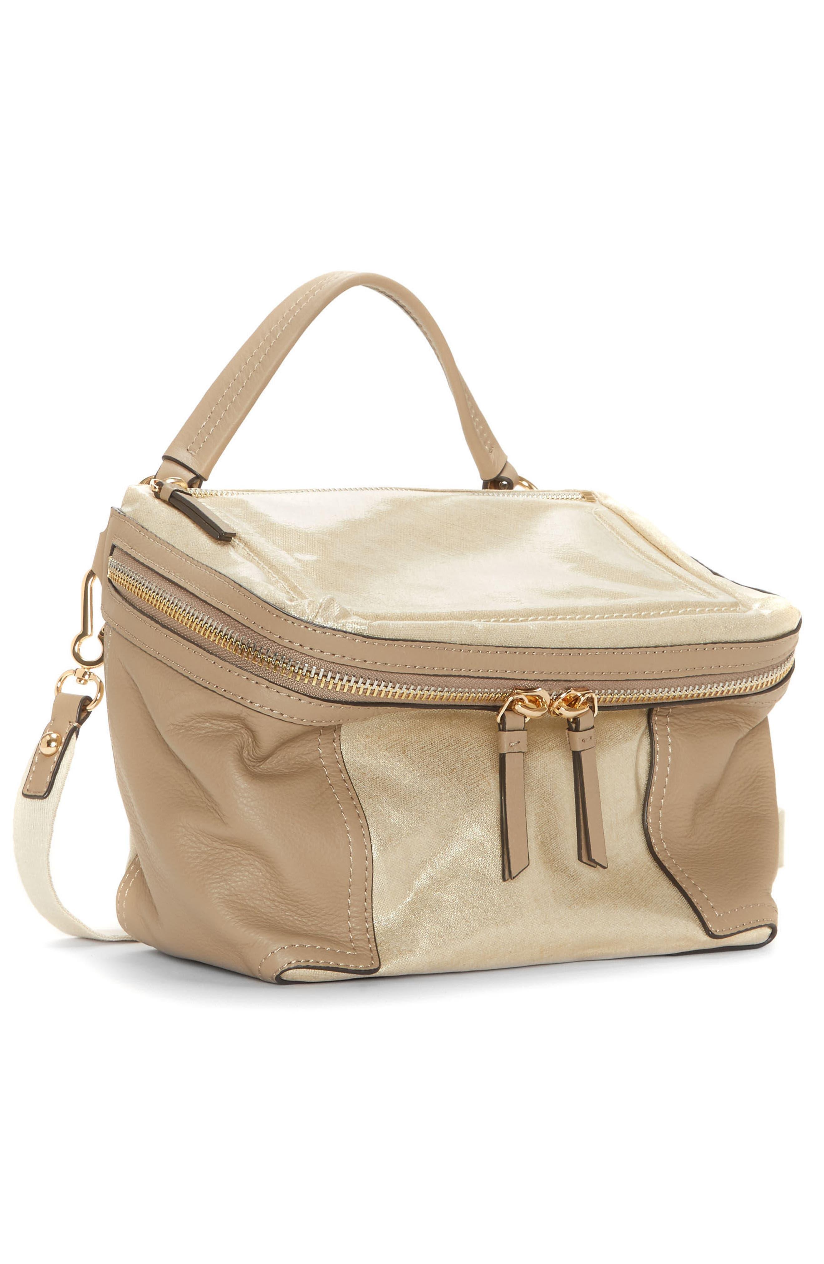 Medium Patch Nylon & Leather Crossbody Bag,                             Alternate thumbnail 4, color,                             Gold