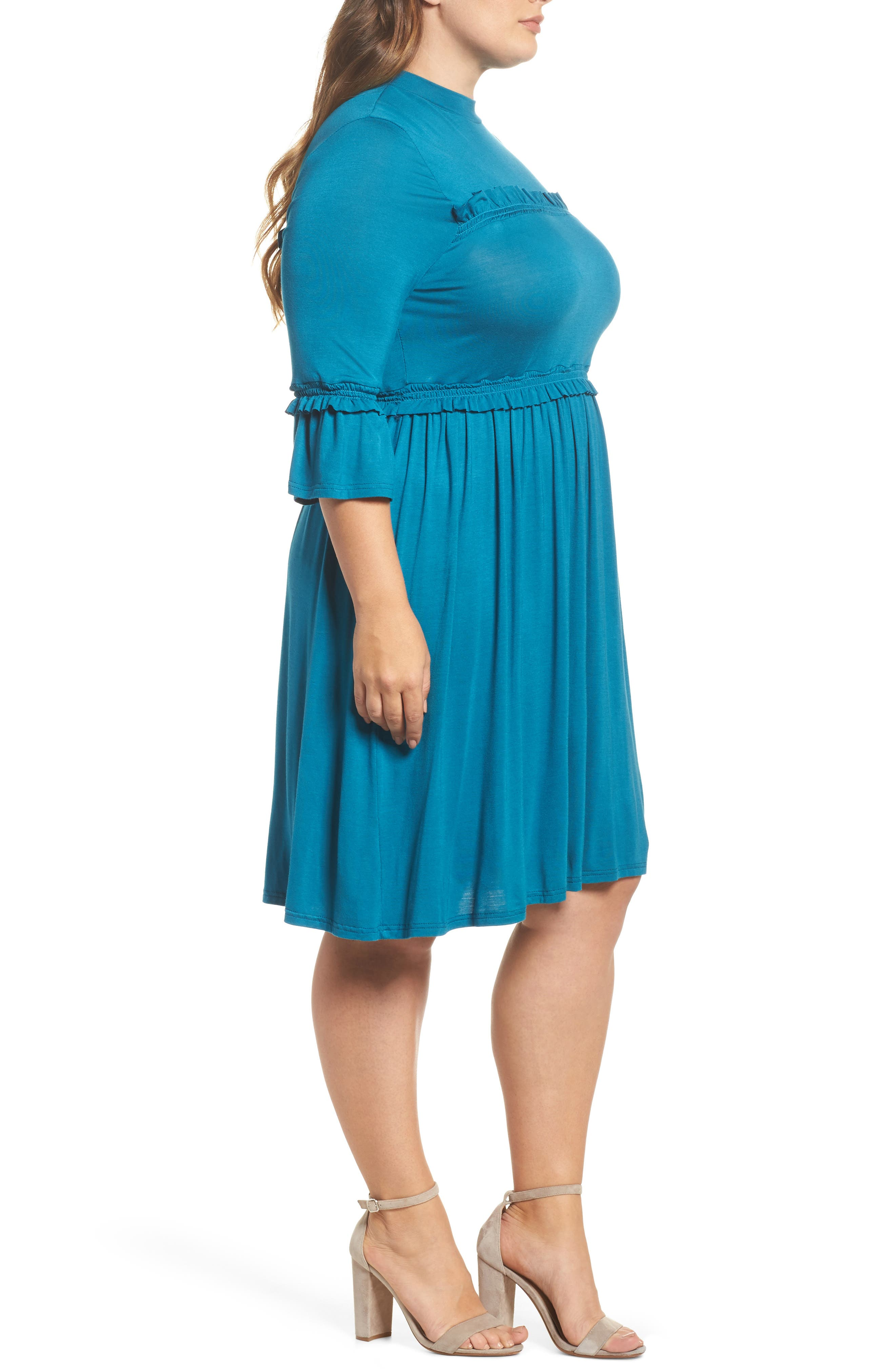 Alternate Image 3  - LOST INK Double Frill Skater Dress (Plus Size)