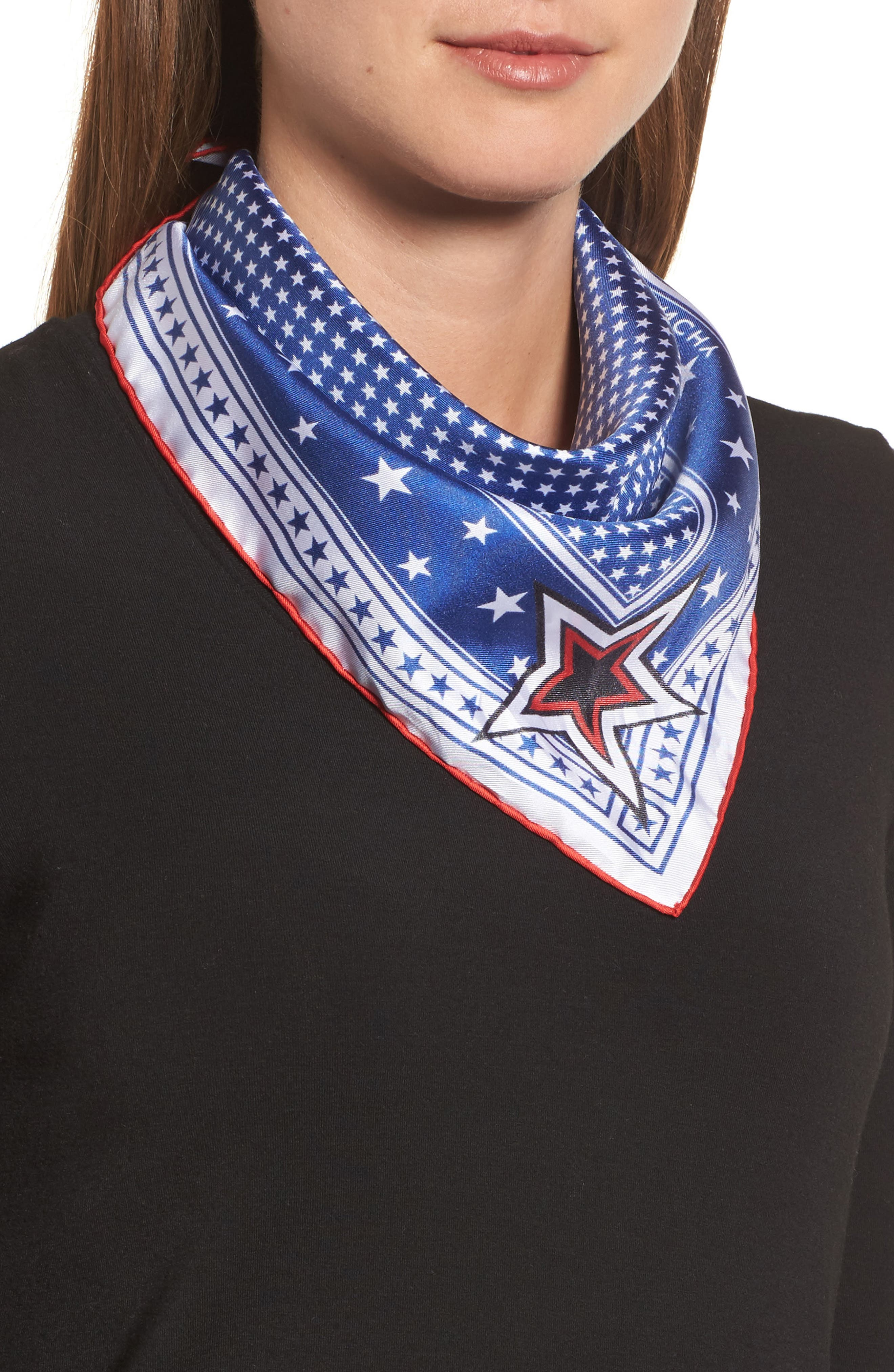 Star Silk Twill Square Scarf,                             Alternate thumbnail 2, color,                             Blue/ Red