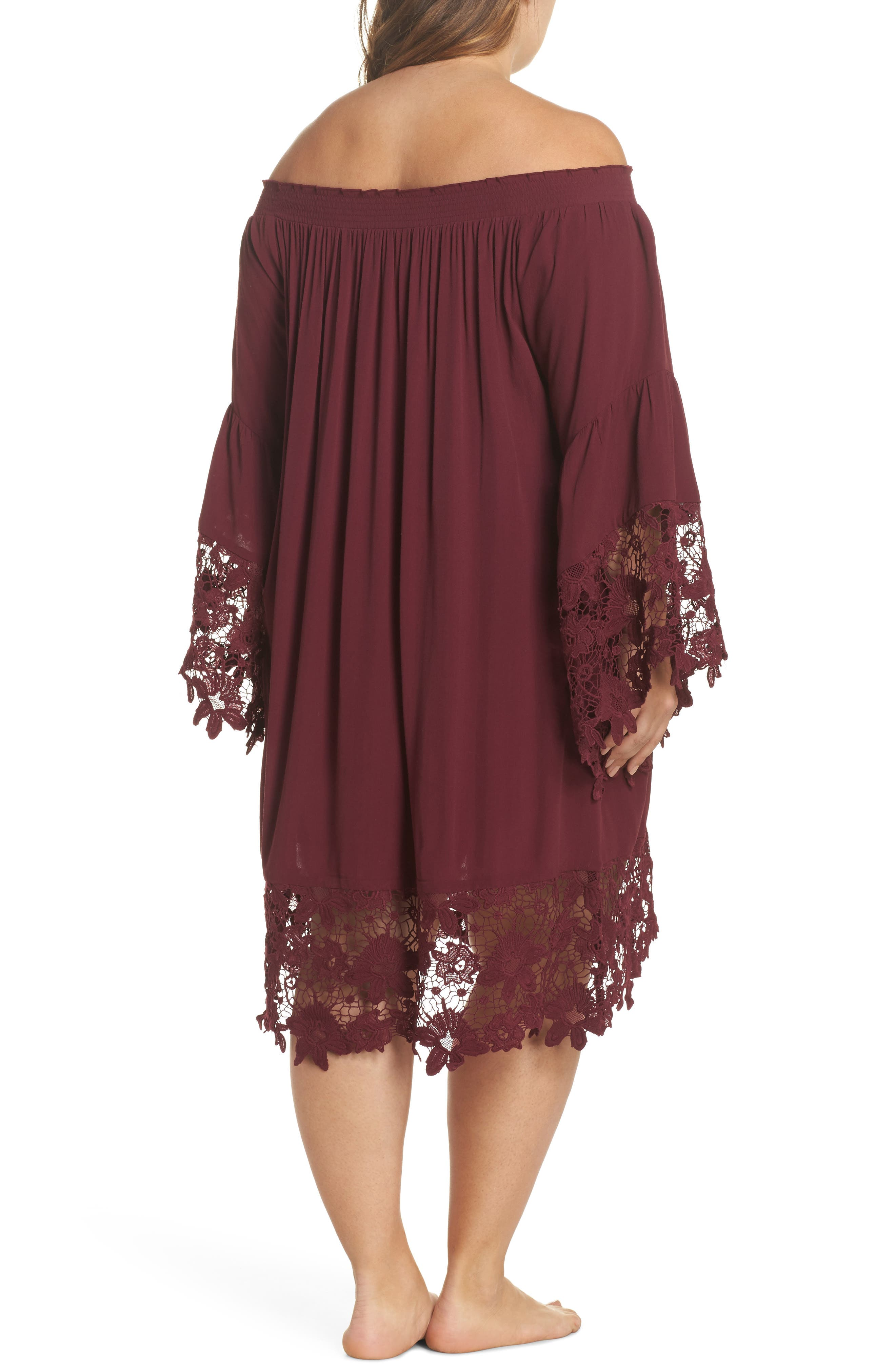 Jolie Lace Accent Cover-Up Dress,                             Alternate thumbnail 2, color,                             Burgundy