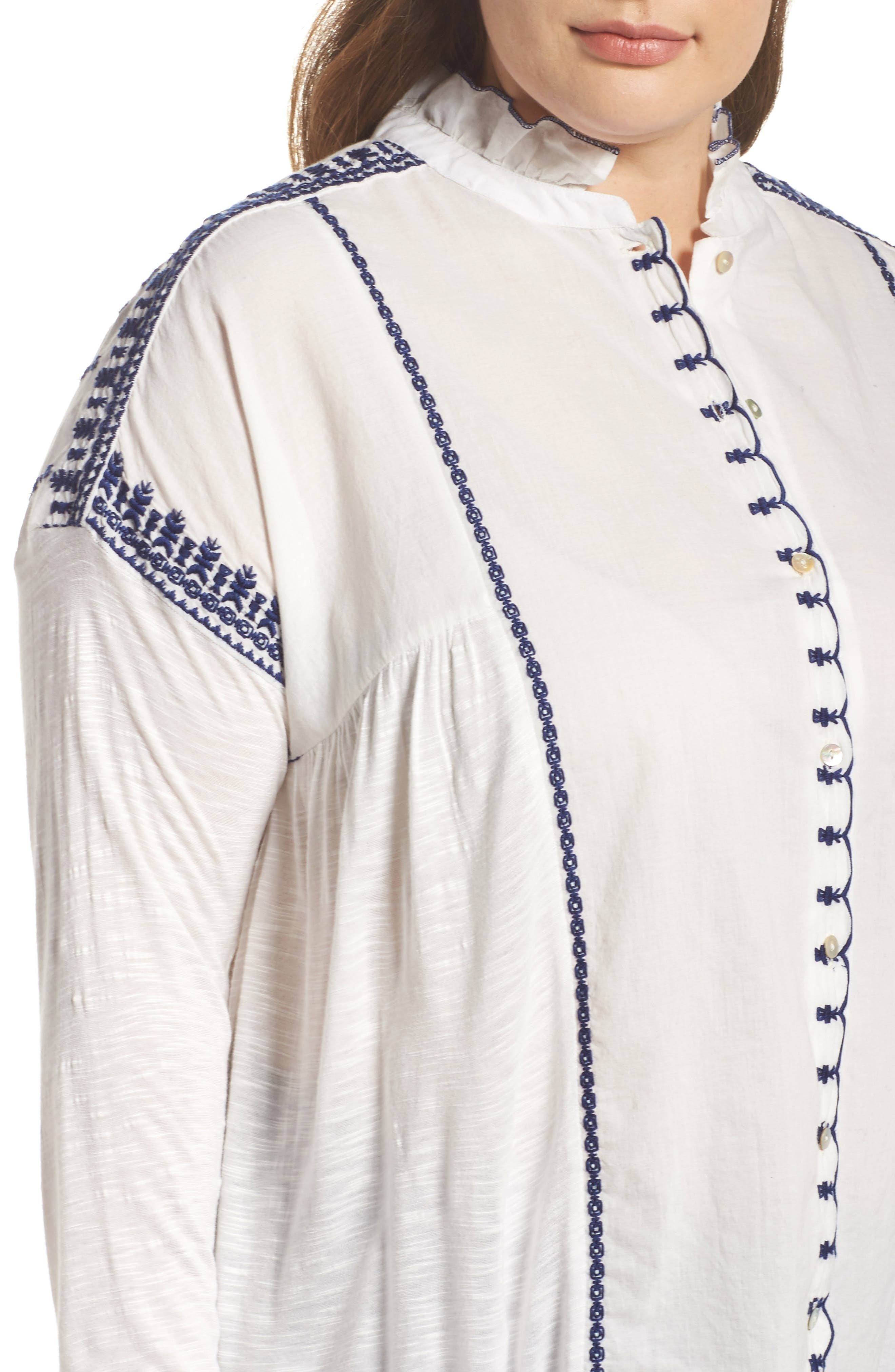 Alternate Image 4  - Lucky Brand Embroidered Mixed Media Top (Plus Size)