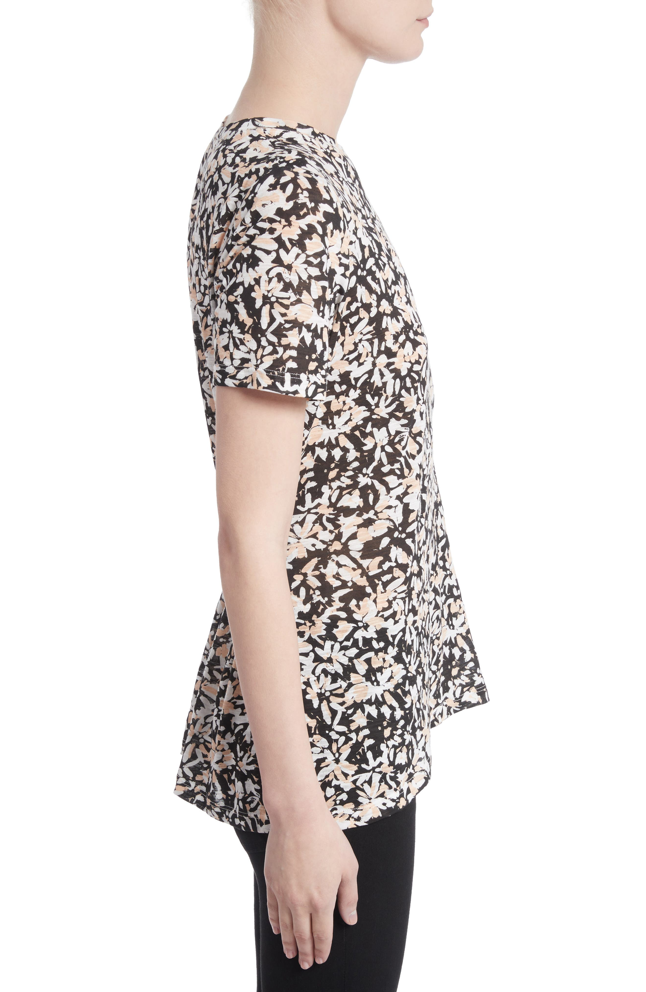 Band Detail Print Tissue Jersey Tee,                             Alternate thumbnail 3, color,                             Nude/ Black Painted Floral