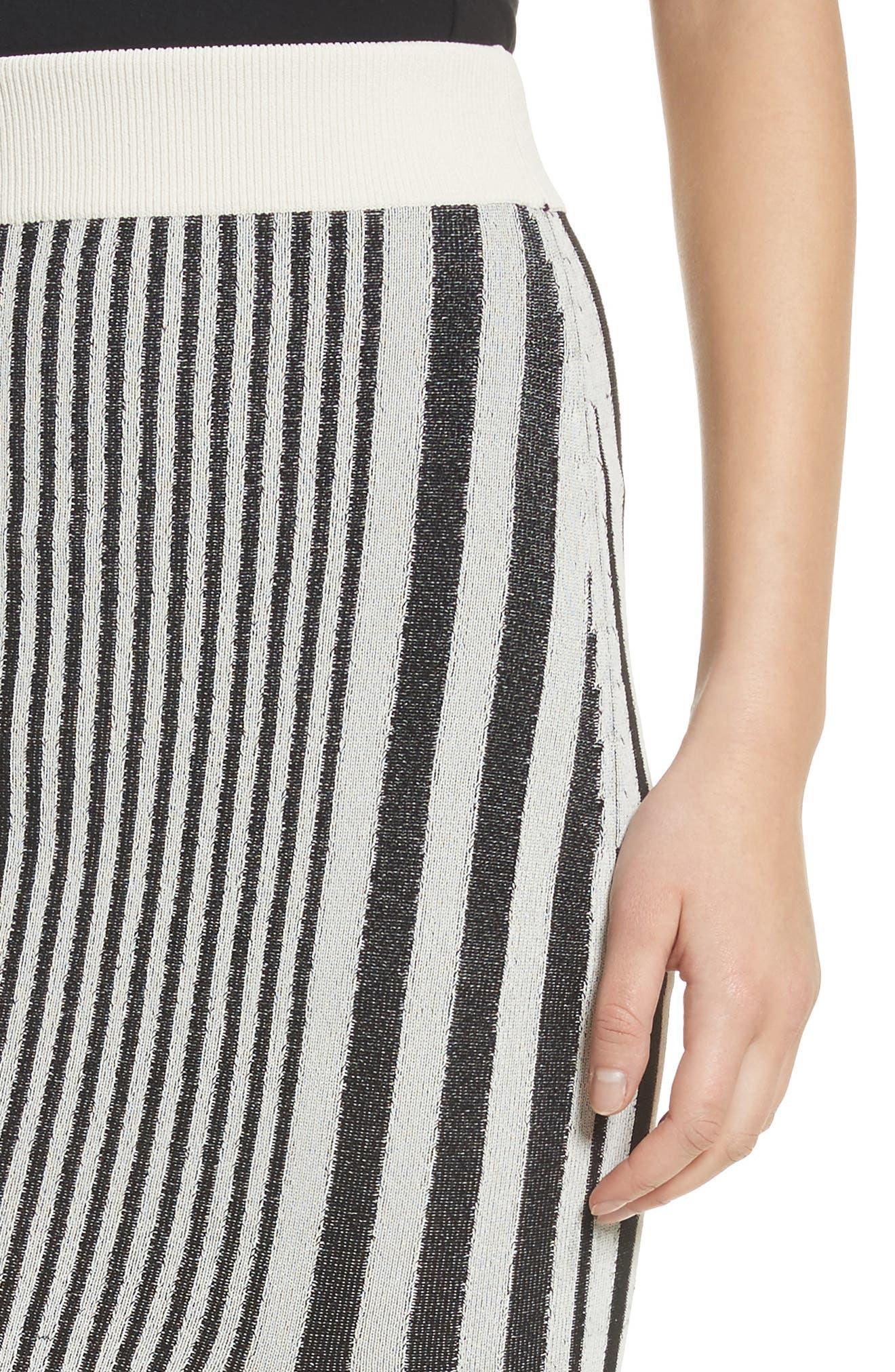 Tassel Trim Stripe Pencil Skirt,                             Alternate thumbnail 5, color,                             Black