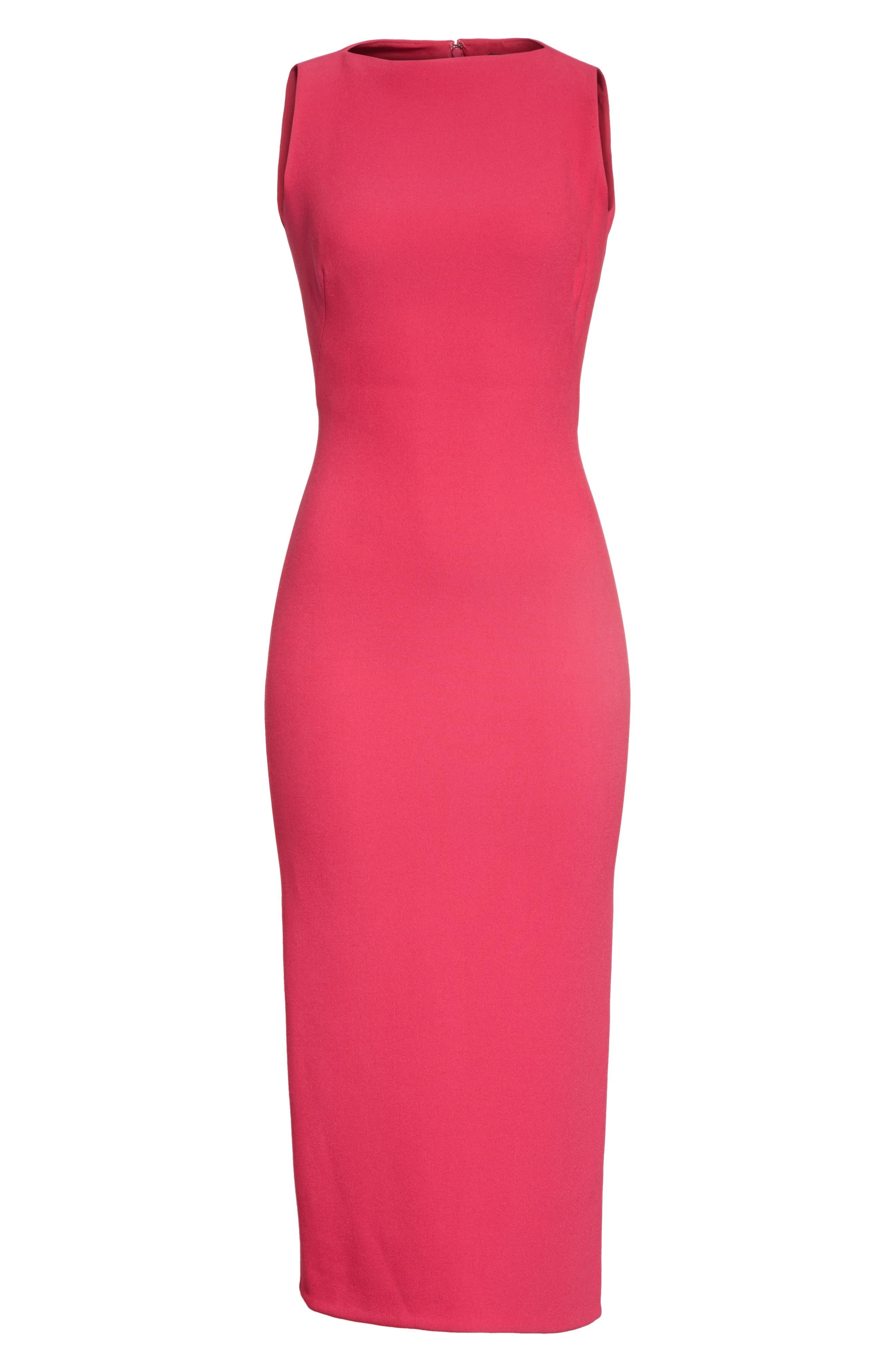 Sheath Midi Dress,                             Alternate thumbnail 7, color,                             Fuchsia
