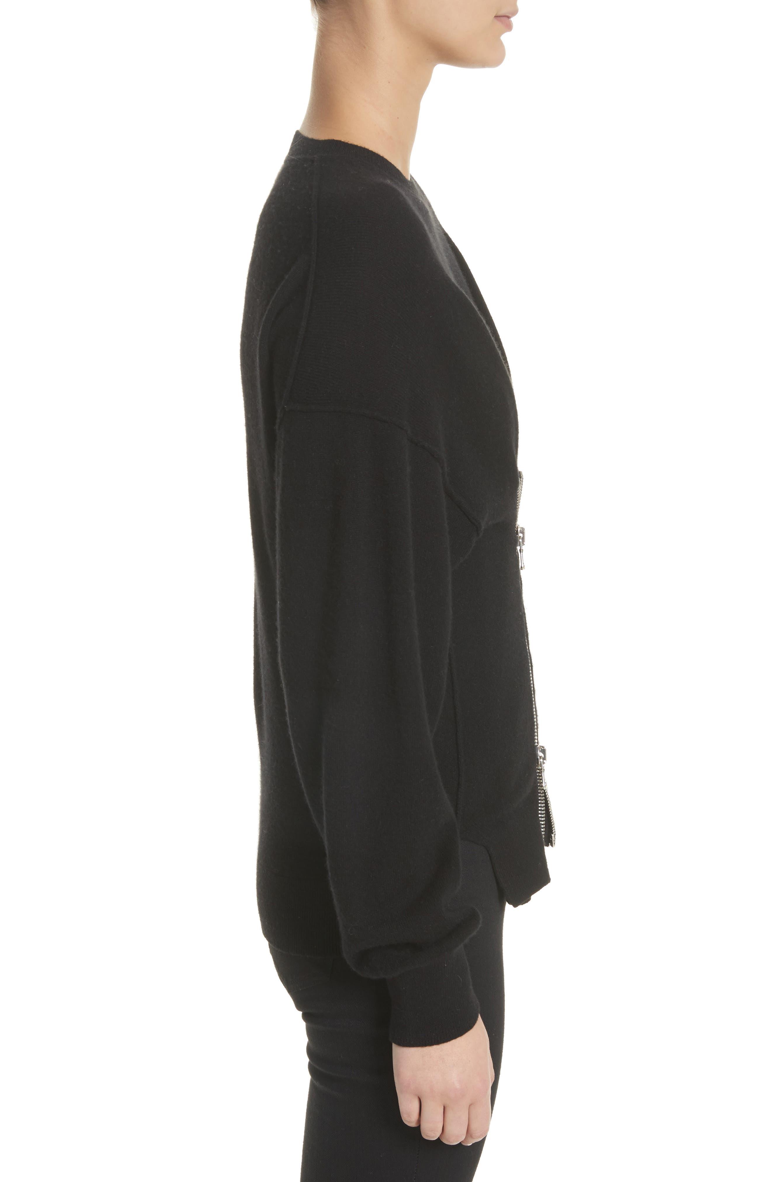 Zip Front Wool & Cashmere Blend Sweater,                             Alternate thumbnail 3, color,                             Black