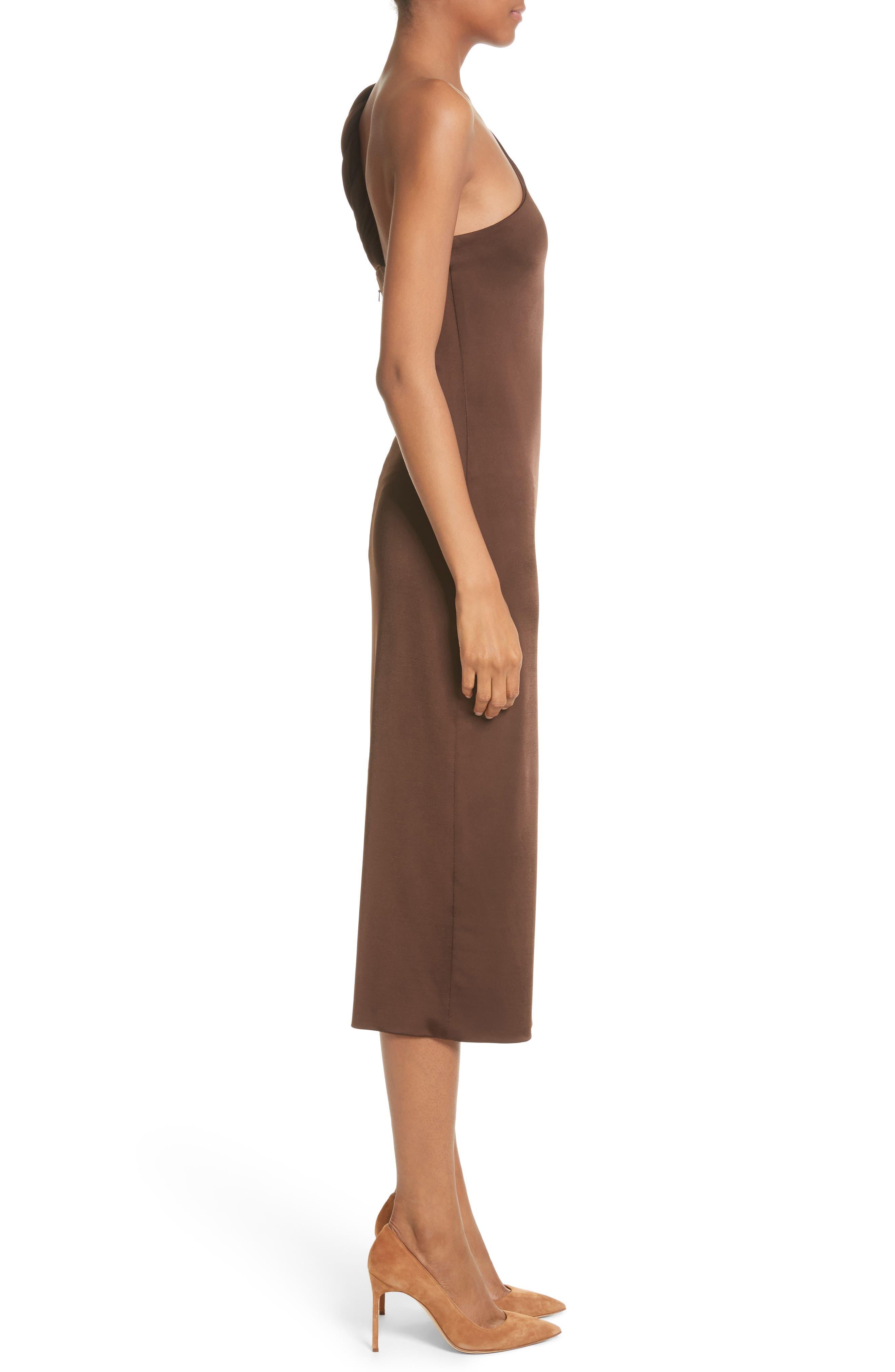 Jersey One-Shoulder Dress,                             Alternate thumbnail 3, color,                             Umber