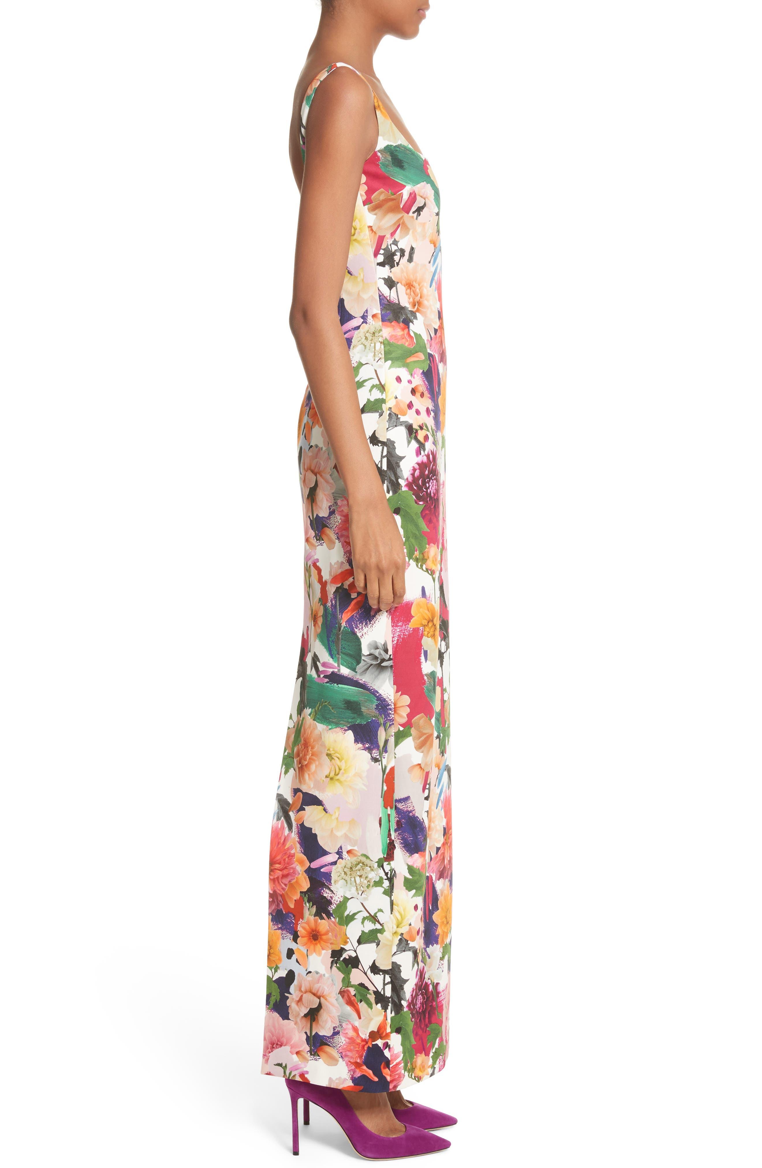 Floral Print Sheath Gown,                             Alternate thumbnail 3, color,                             Surrealist Floral