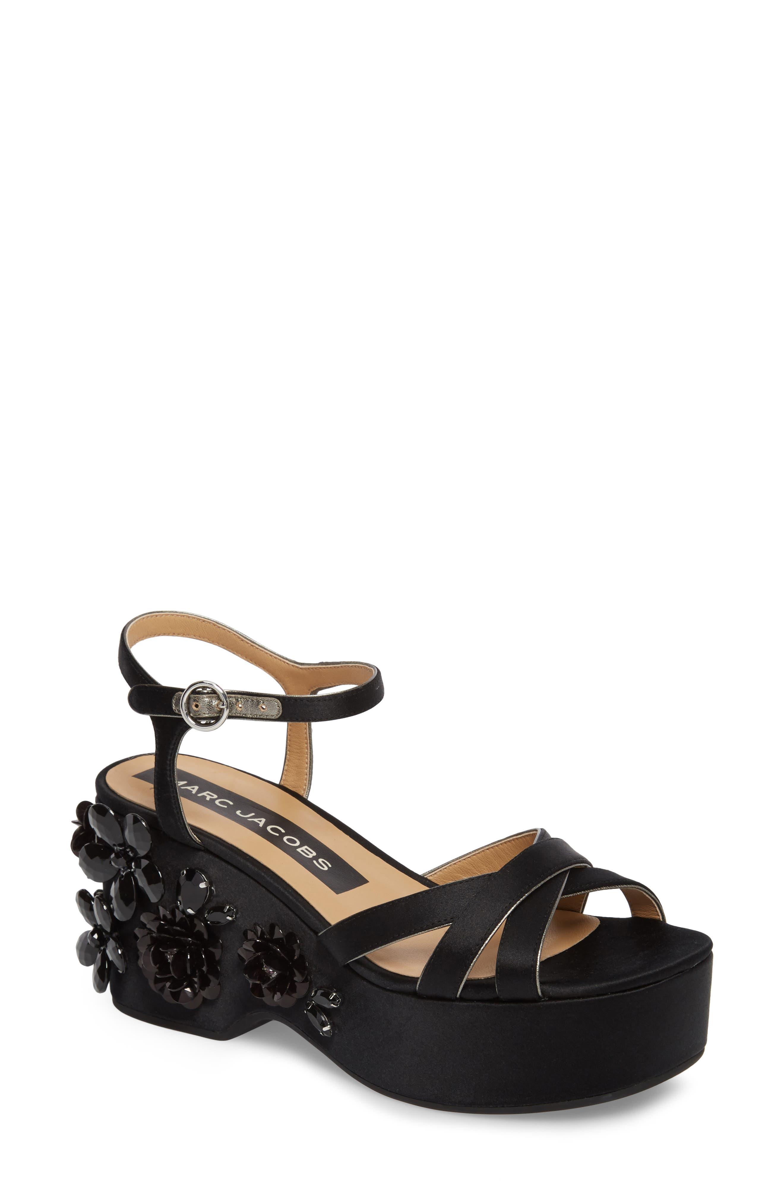 Callie Embellished Platform Sandal,                             Main thumbnail 1, color,                             Black