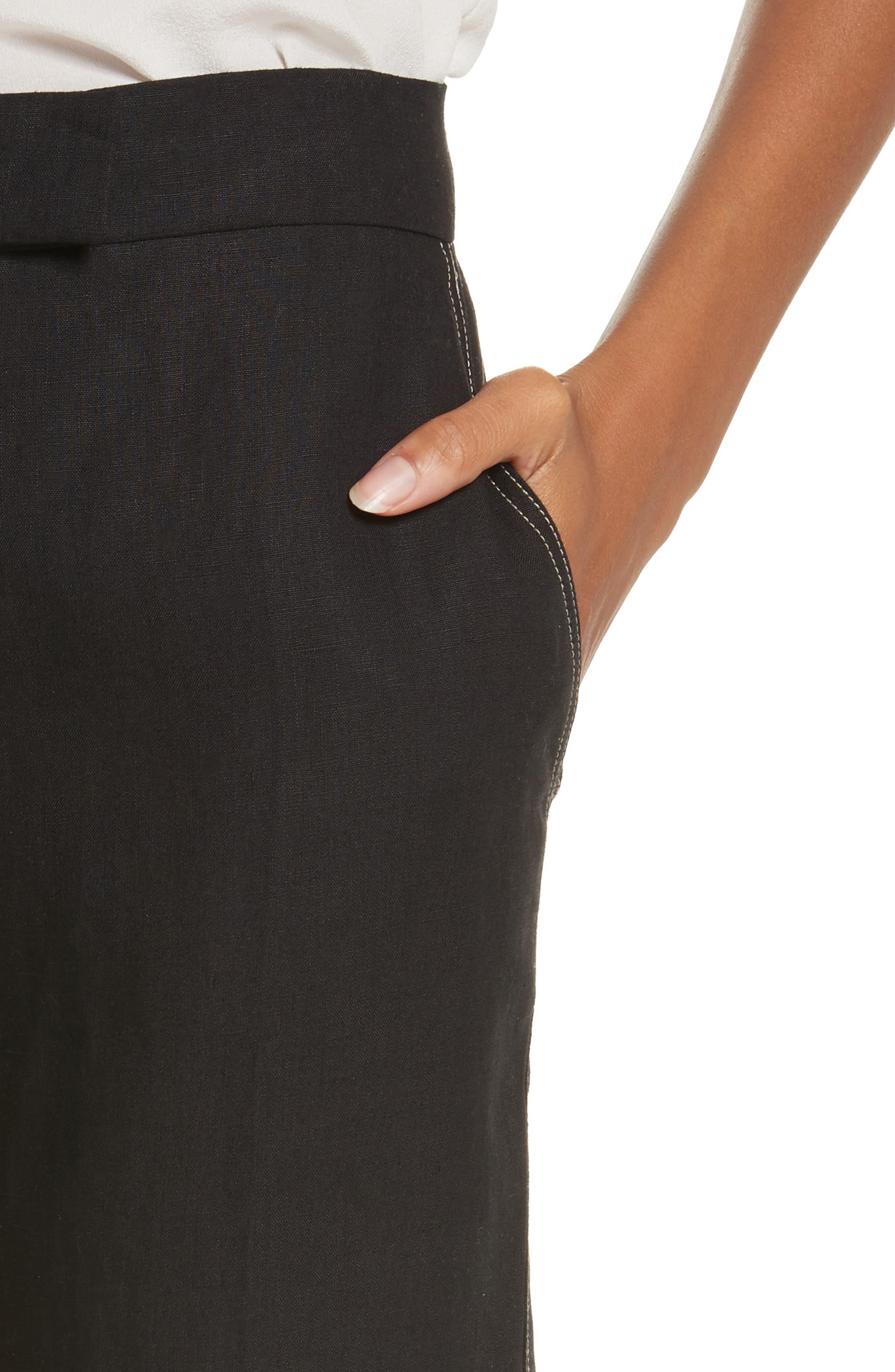 Luigia Linen Crop Flare Pants,                             Alternate thumbnail 4, color,                             Black