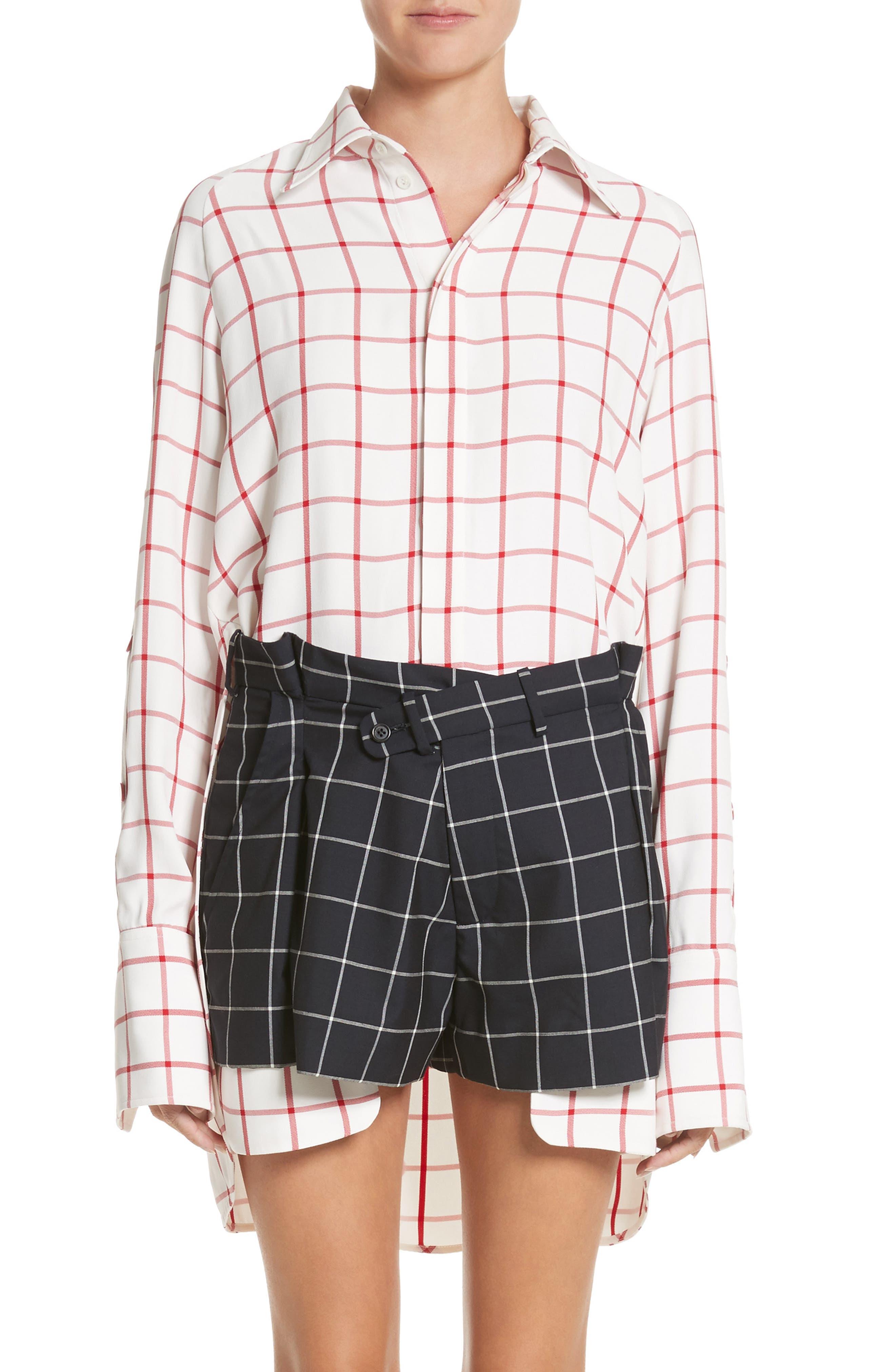 MONSE Windowpane Plaid Snap Sleeve Shirt